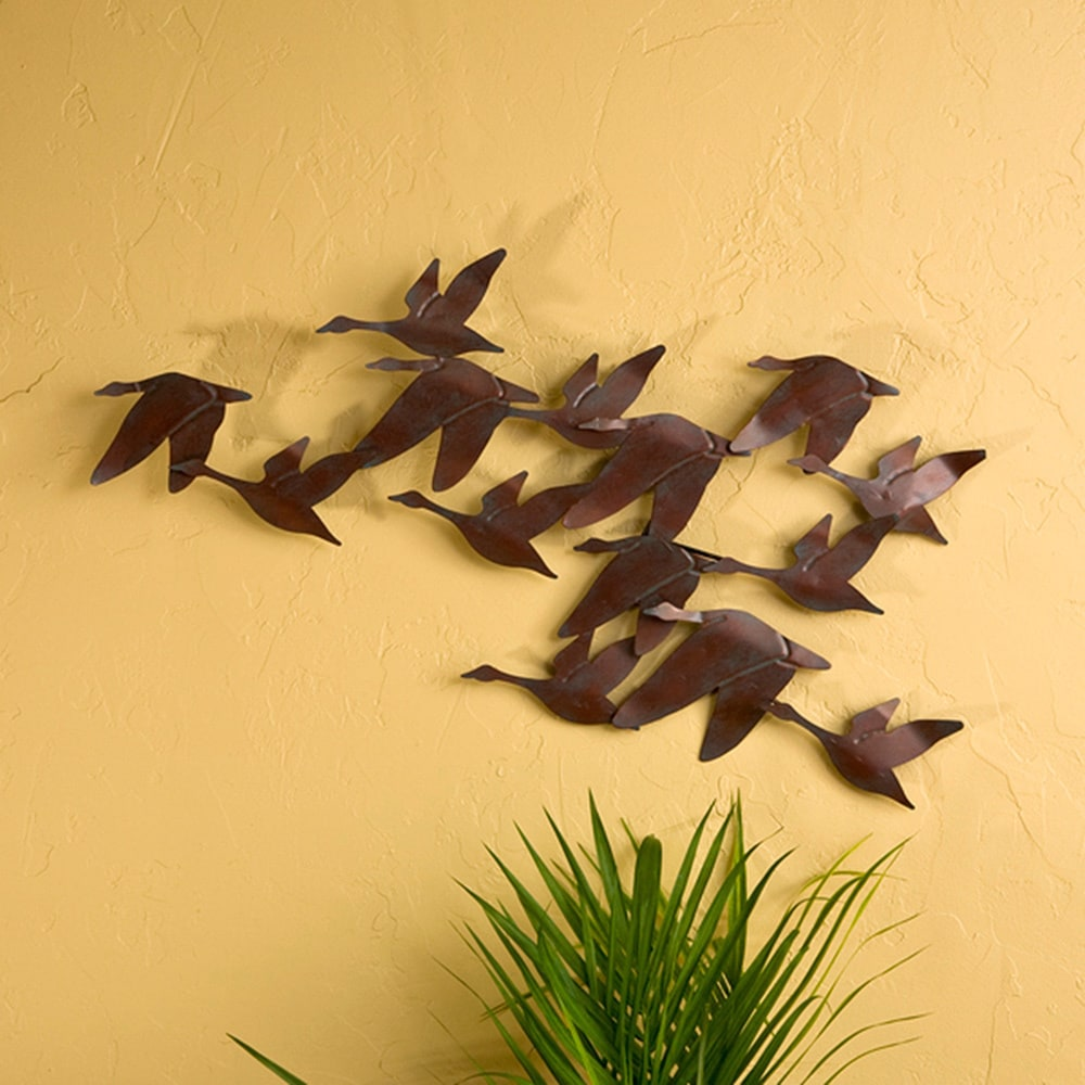 Harper Blvd \' \'Flock of Geese\' Oxidized Copper-finished Metal Wall ...