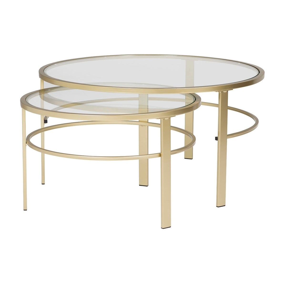 Offex Home Corbel Modern Round Nesting Coffee Table Set In Gold Clear Gl