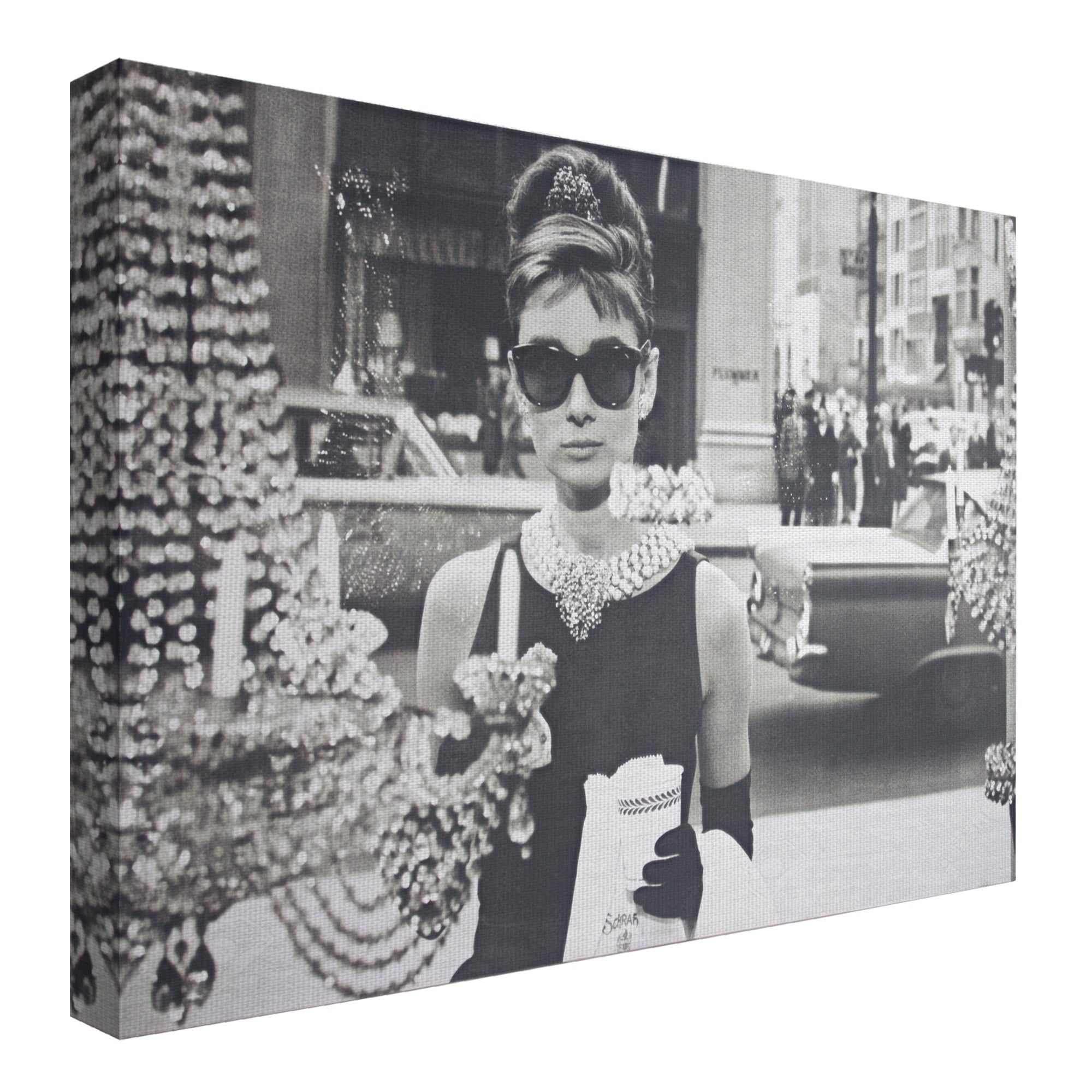 15ae3391f10fe Shop American Art Decor Audrey Hepburn Breakfast at Tiffany s Canvas Art -  Black - Free Shipping On Orders Over  45 - Overstock - 26234422