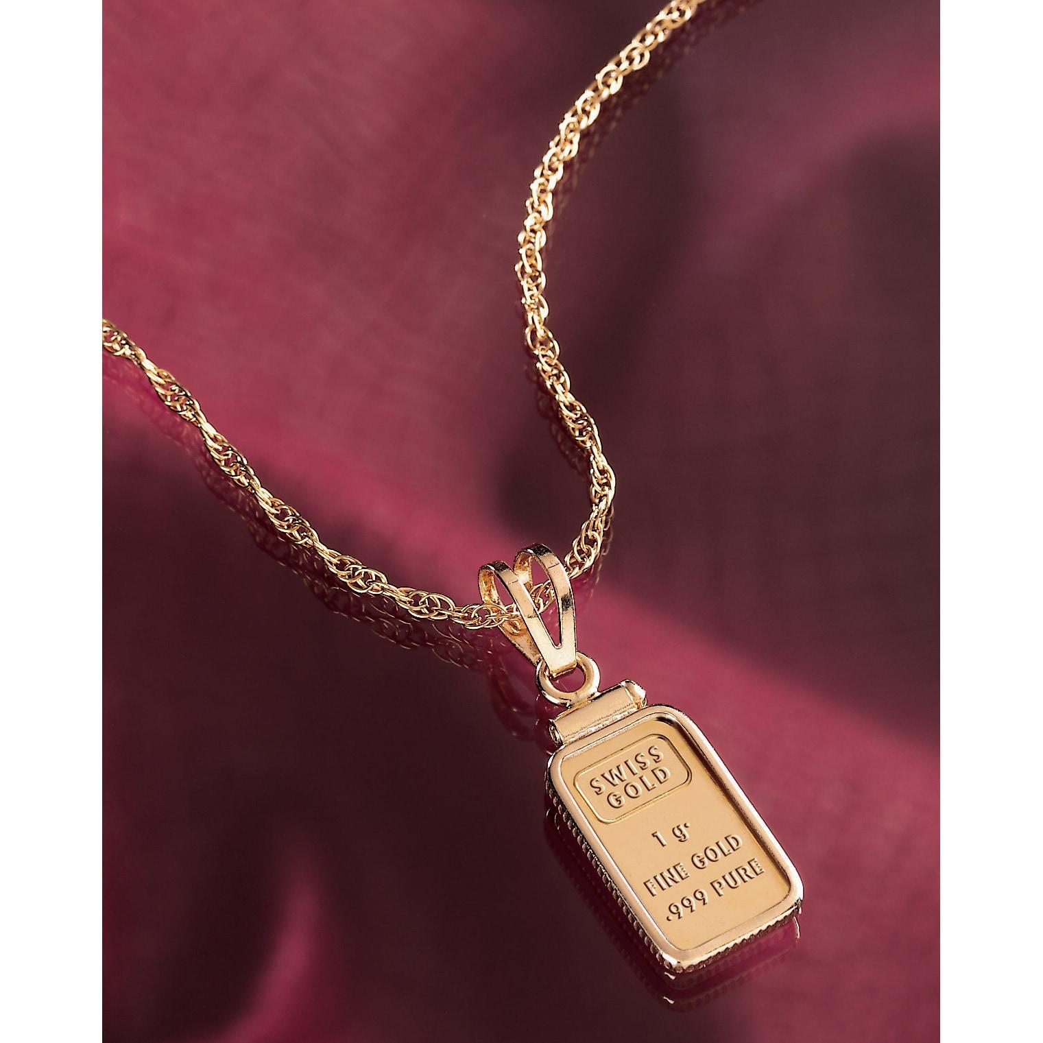American coin treasures 1 gram gold ingot pendant necklace free american coin treasures 1 gram gold ingot pendant necklace free shipping today overstock 10828854 aloadofball Image collections