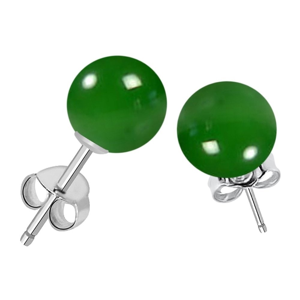 67fc16458 925 Sterling Silver 7.00 ct Genuine Green Onyx Ball Stud Earring By Orchid  Jewelry