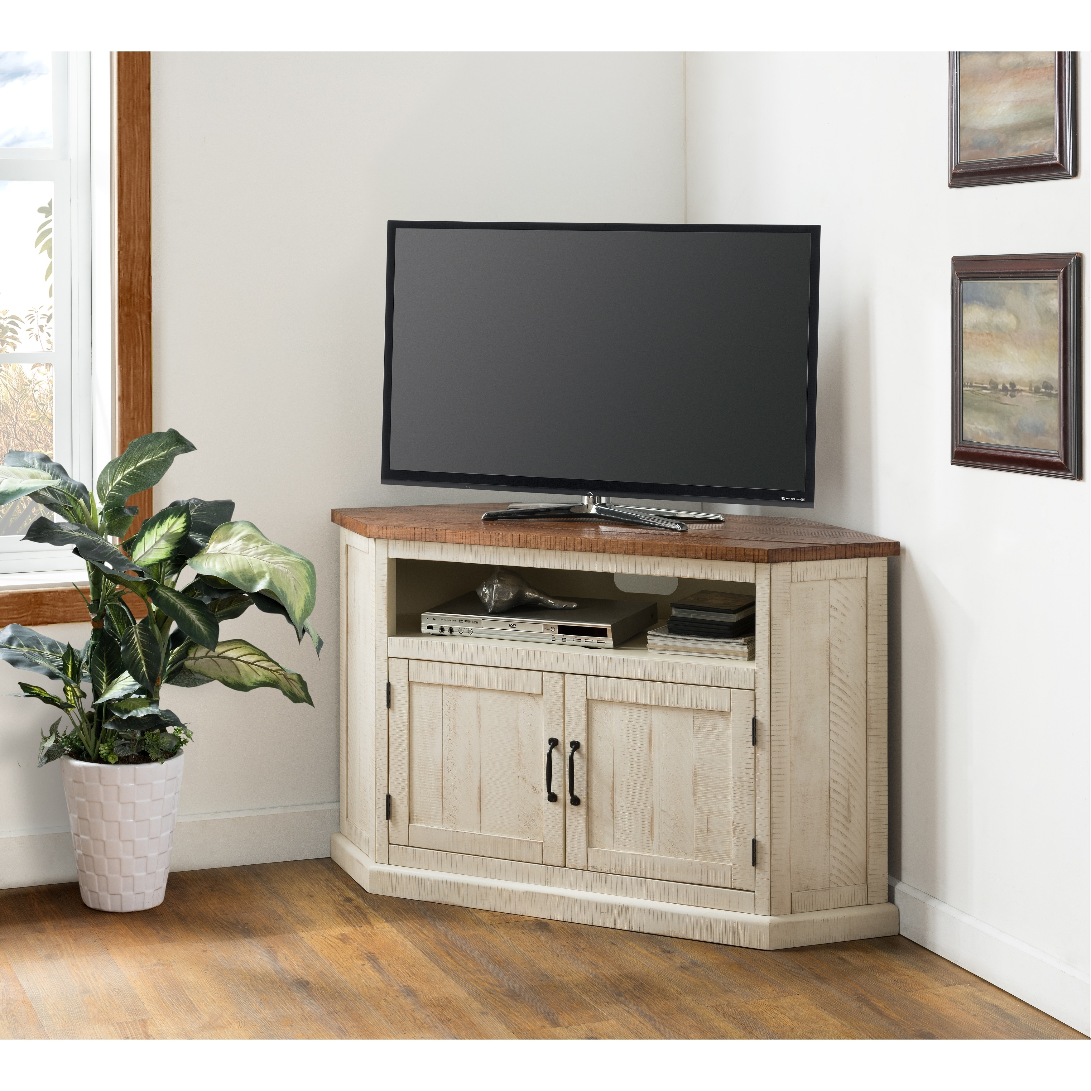Martin Svensson Home Rustic Collection 50 Solid Wood Corner Tv Stand Free Shipping Today 26264485
