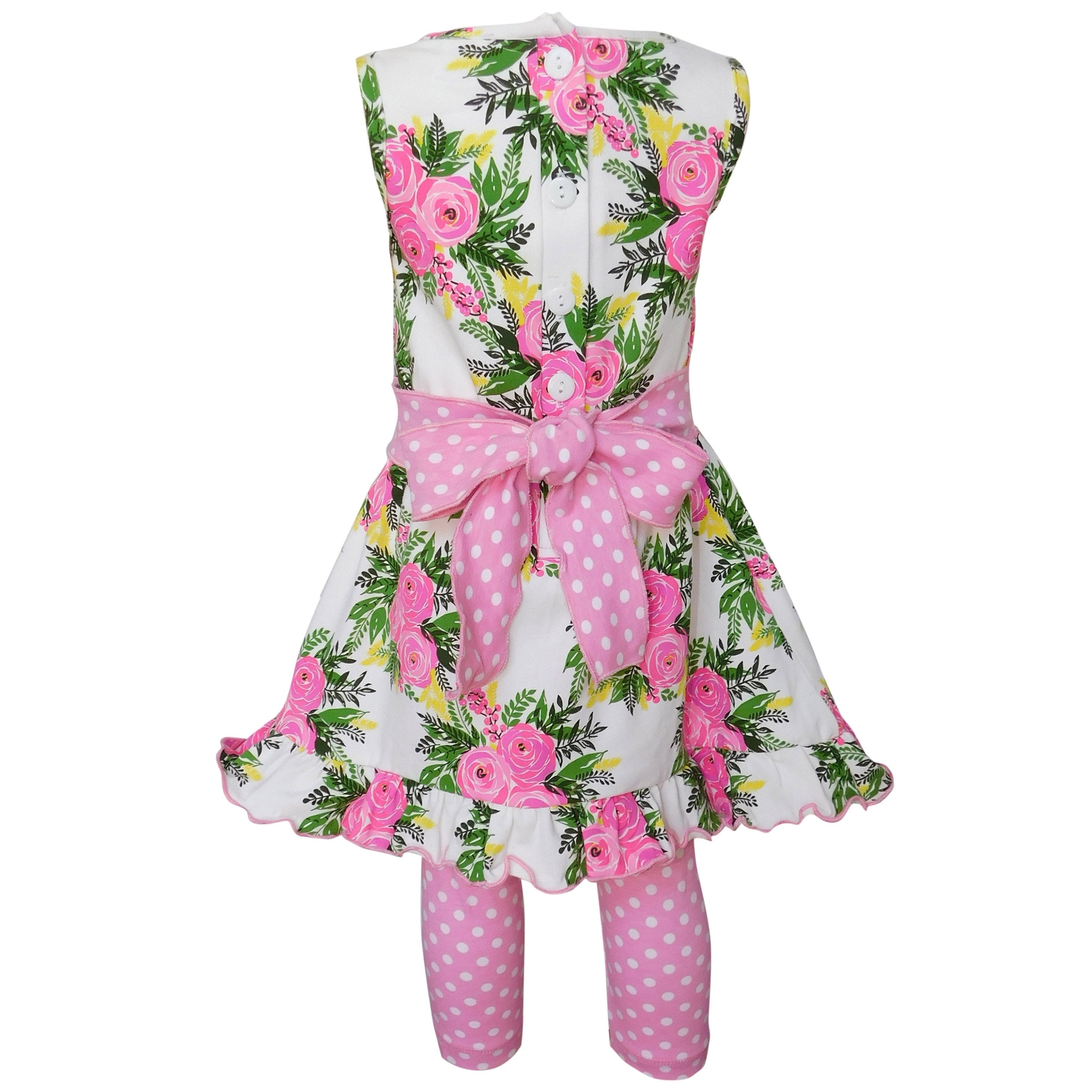 7e14112a4 Shop Annloren Girls Shabby Floral Dress and Capri Outfit - On Sale - Free  Shipping On Orders Over $45 - Overstock - 26265292