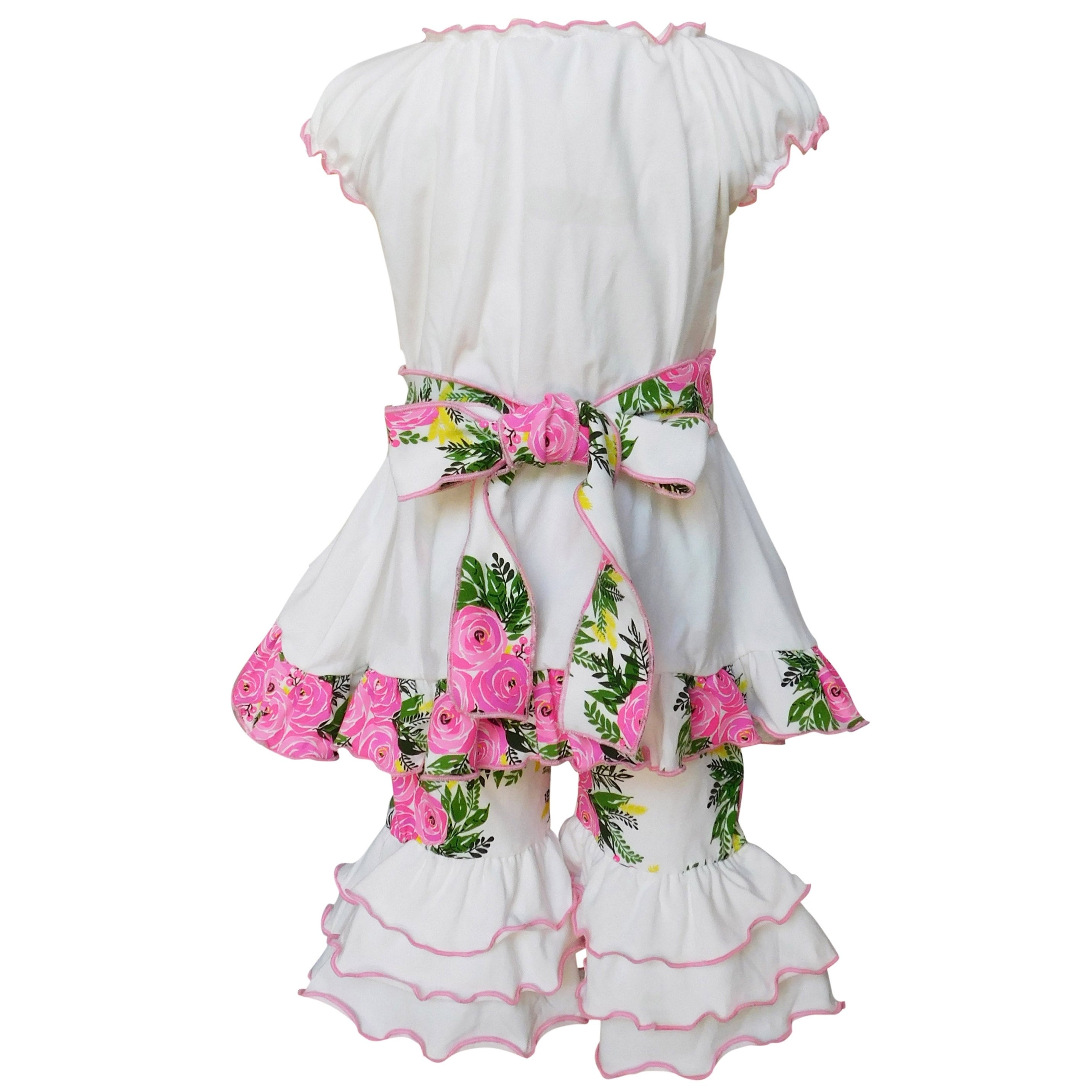 2b343d81d Shop AnnLoren Girls White Shabby Floral Tunic & Capri Outfit - Free  Shipping On Orders Over $45 - Overstock - 26265302