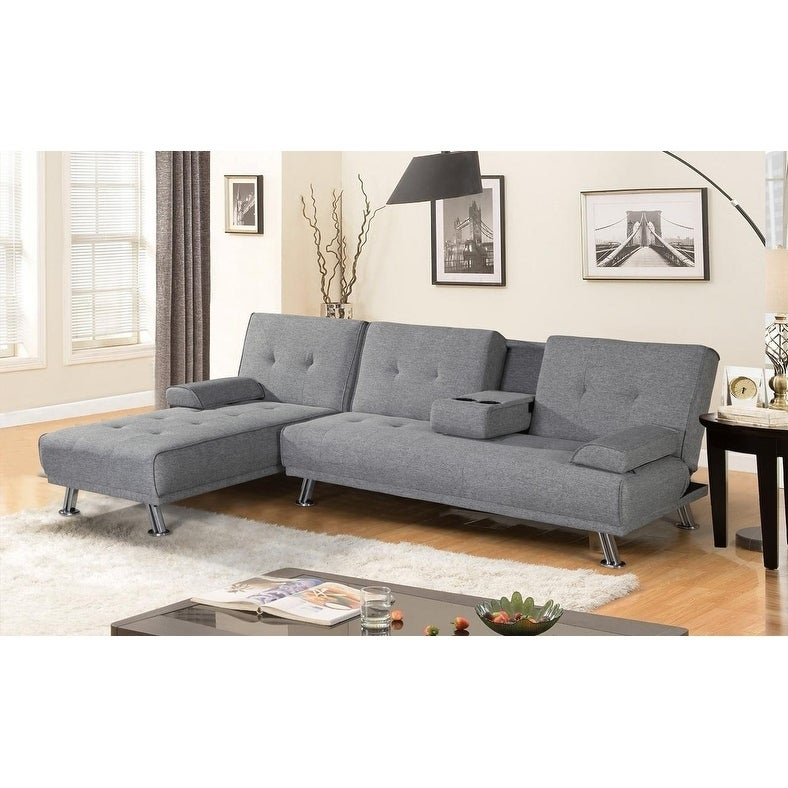Shop BroyerK Mixed Grey Reversible Sectional Sleeper Sofa Bed - Free ...