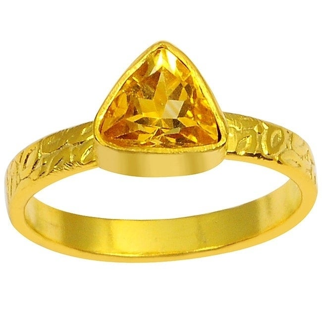 Orchid Jewelry Yellow Gold Overlay 1 4ct Trillion Cut Gemstone Citrine Ring