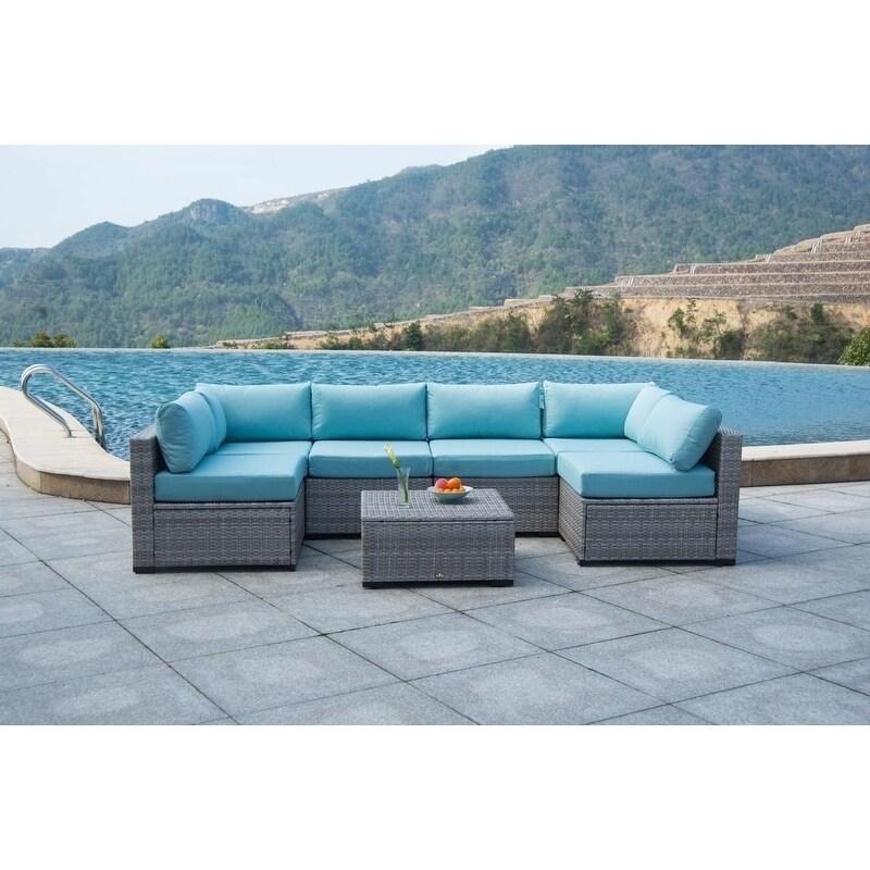 Shop Broyerk 7 Piece Sectional Patio Outdoor Furniture Set Free