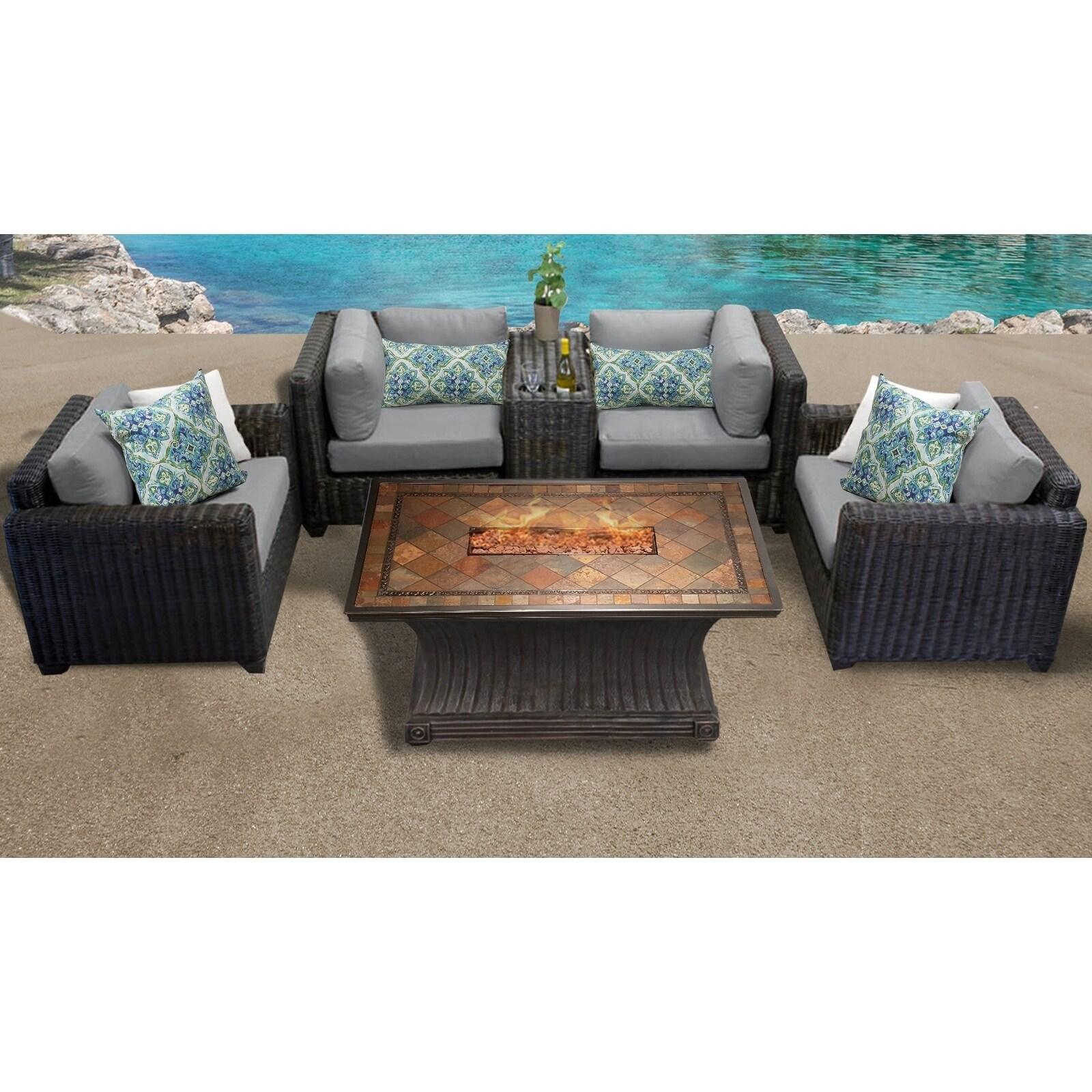 Venice 6 Piece Outdoor Wicker Patio Furniture Set 06d