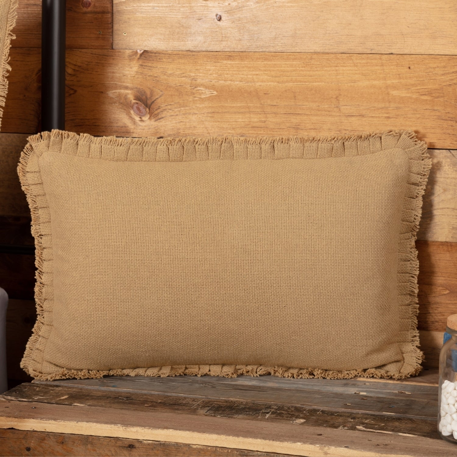 Farmhouse Bedding Veranda Burlap Tan 14x22 Pillow Cotton Solid Color Cover Insert Rectangle
