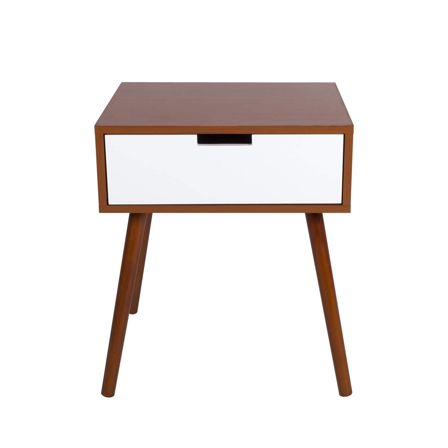 Kinbor Side End Table Mid Century Wood Nightstand Living Room Cabinet W Storage Drawer