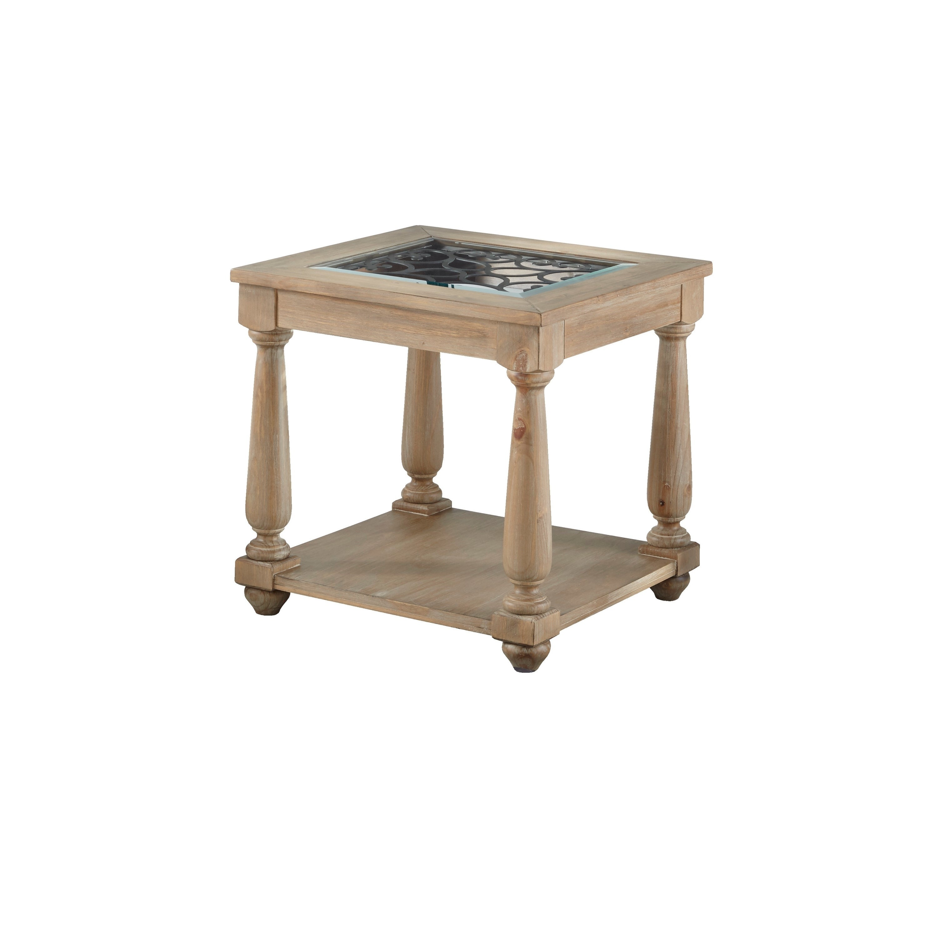 492a03dbd2f66a Shop Standard Furniture Savannah Distressed Brown Wood Glass-top End Table  - Free Shipping Today - Overstock - 26280376