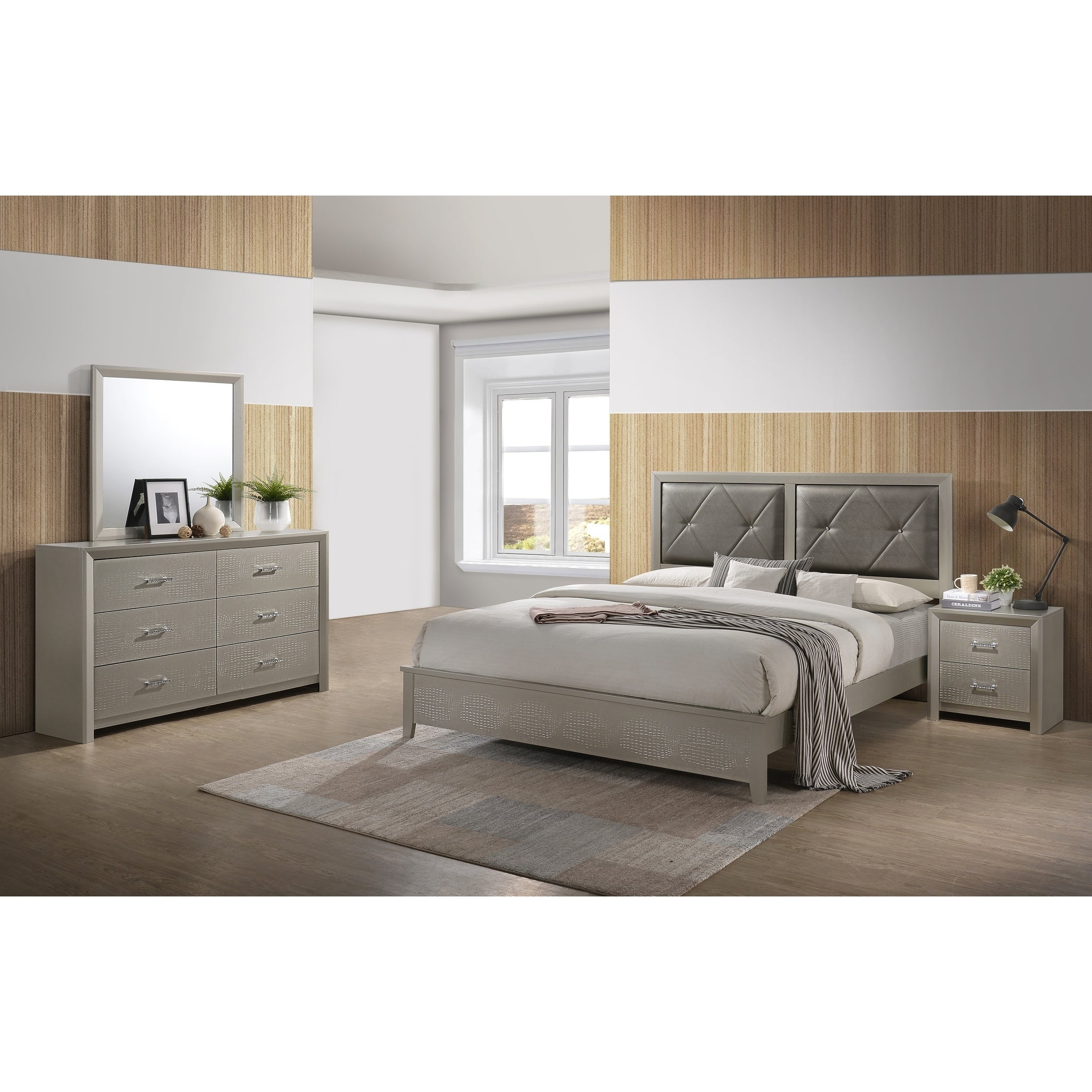 Best Quality Furniture Champagne Metallic 4 Piece Bedroom Set Free Shipping Today 26280513