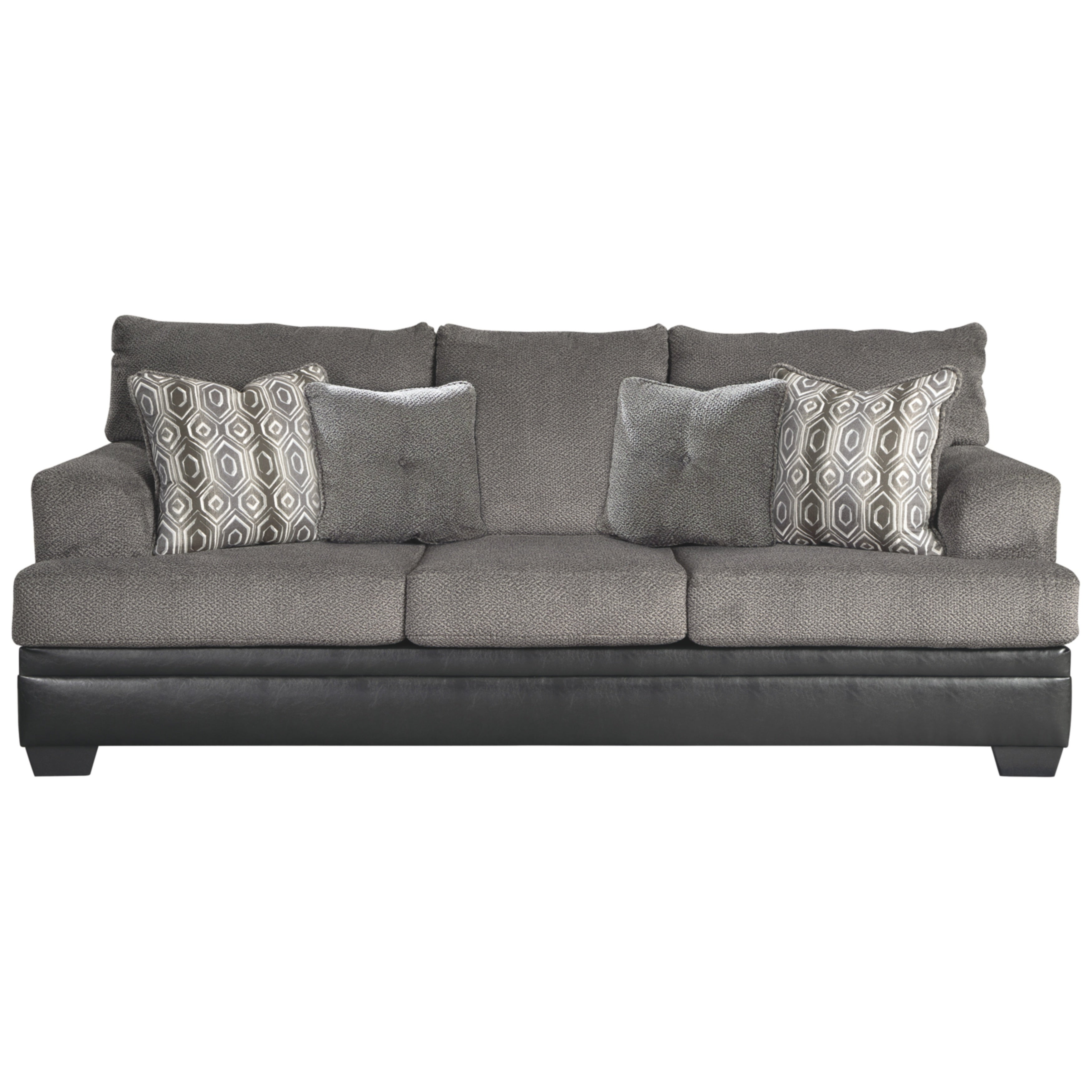 Shop Millingar Queen Black Faux Leather and Smoke Grey Fabric Sofa ...