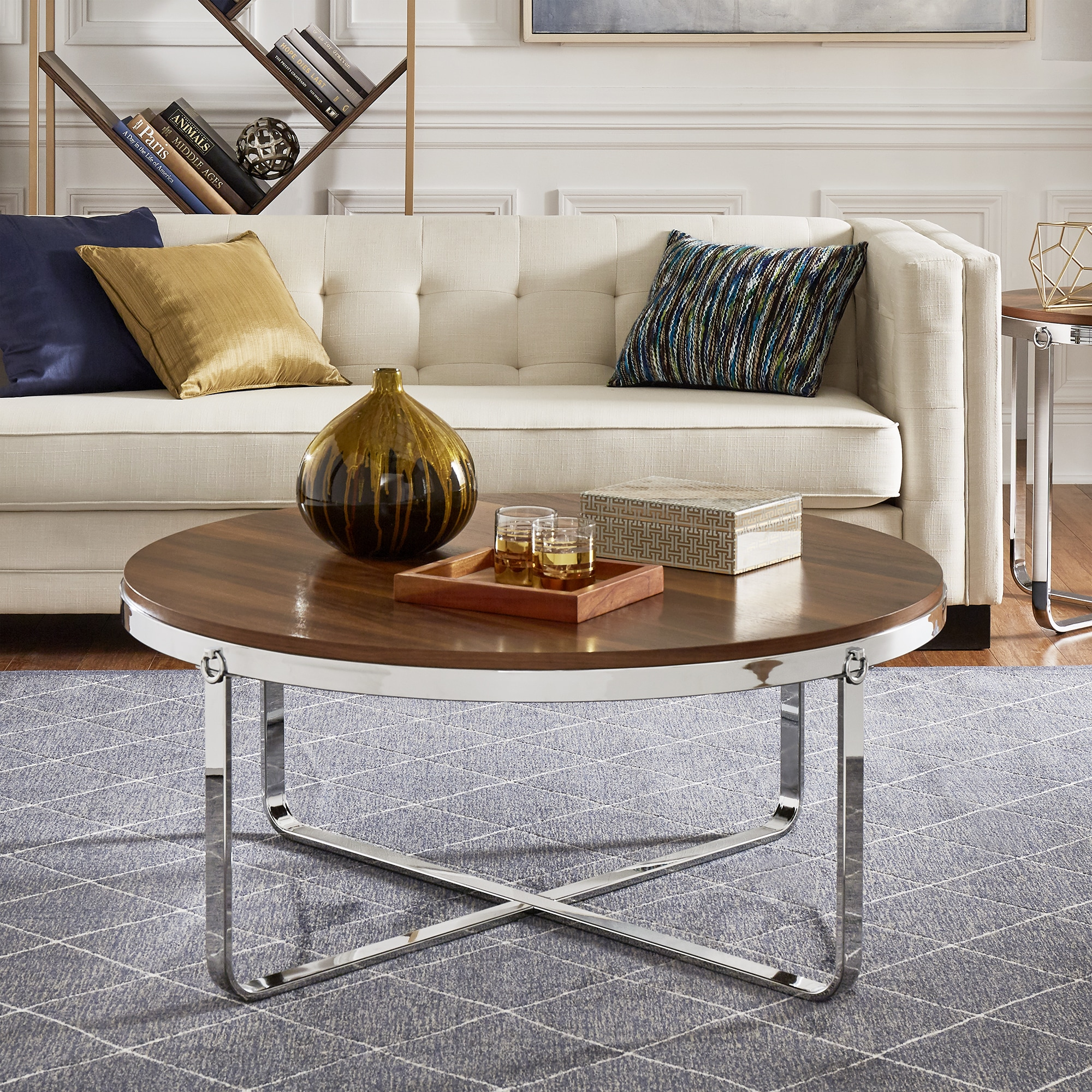 Merritt Chrome Finish Frame Wood Top Coffee Table Or Table Set By INSPIRE Q  Modern