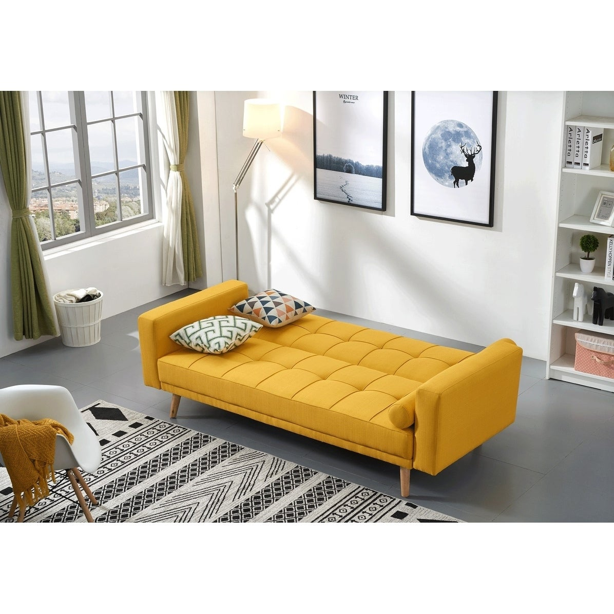 Luca Home Alex Yellow Microfiber And Wood Tufted Scandinavian Style Sofa Bed Free Shipping Today 26283597