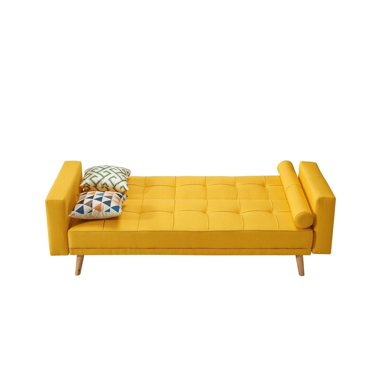 Luca Home Alex Yellow Microfiber And Wood Tufted Scandinavian Style Sofa Bed