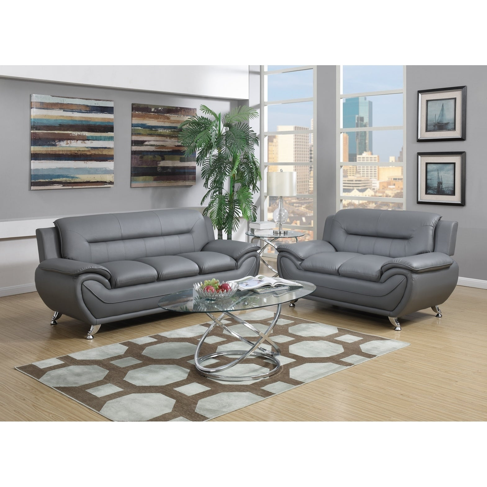 Gtu Furniture Contemporary Modern Sleek Chic And Plush Faux Leather Rich Grey Over Stuffed Loveseat Sofa Sofás De Sala On Free Shipping