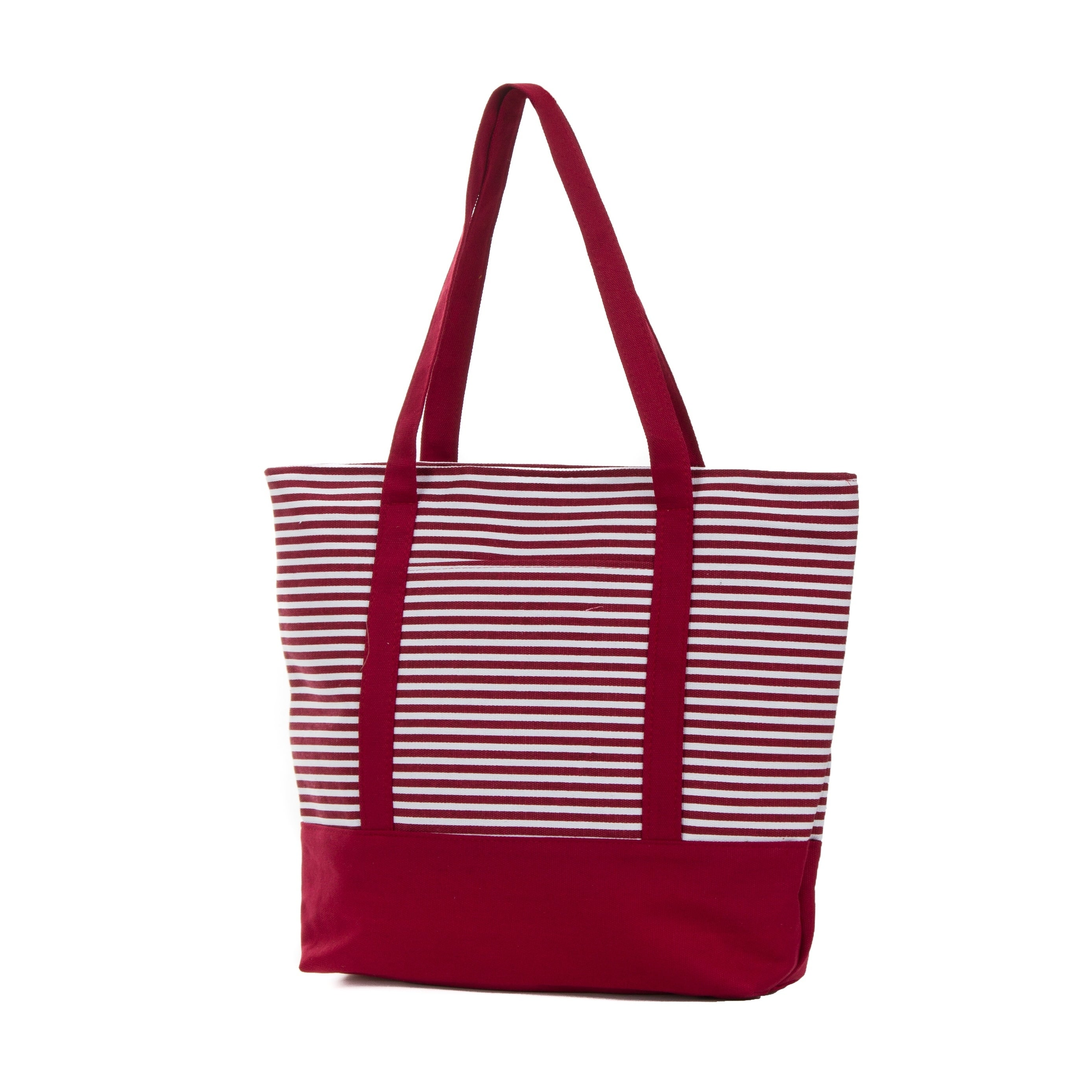 ad8d1d2ef Shop Canvas Tote Bag, Striped Canvas Bag, Beach Bag, Shopping Tote - Free  Shipping On Orders Over $45 - Overstock - 26290024