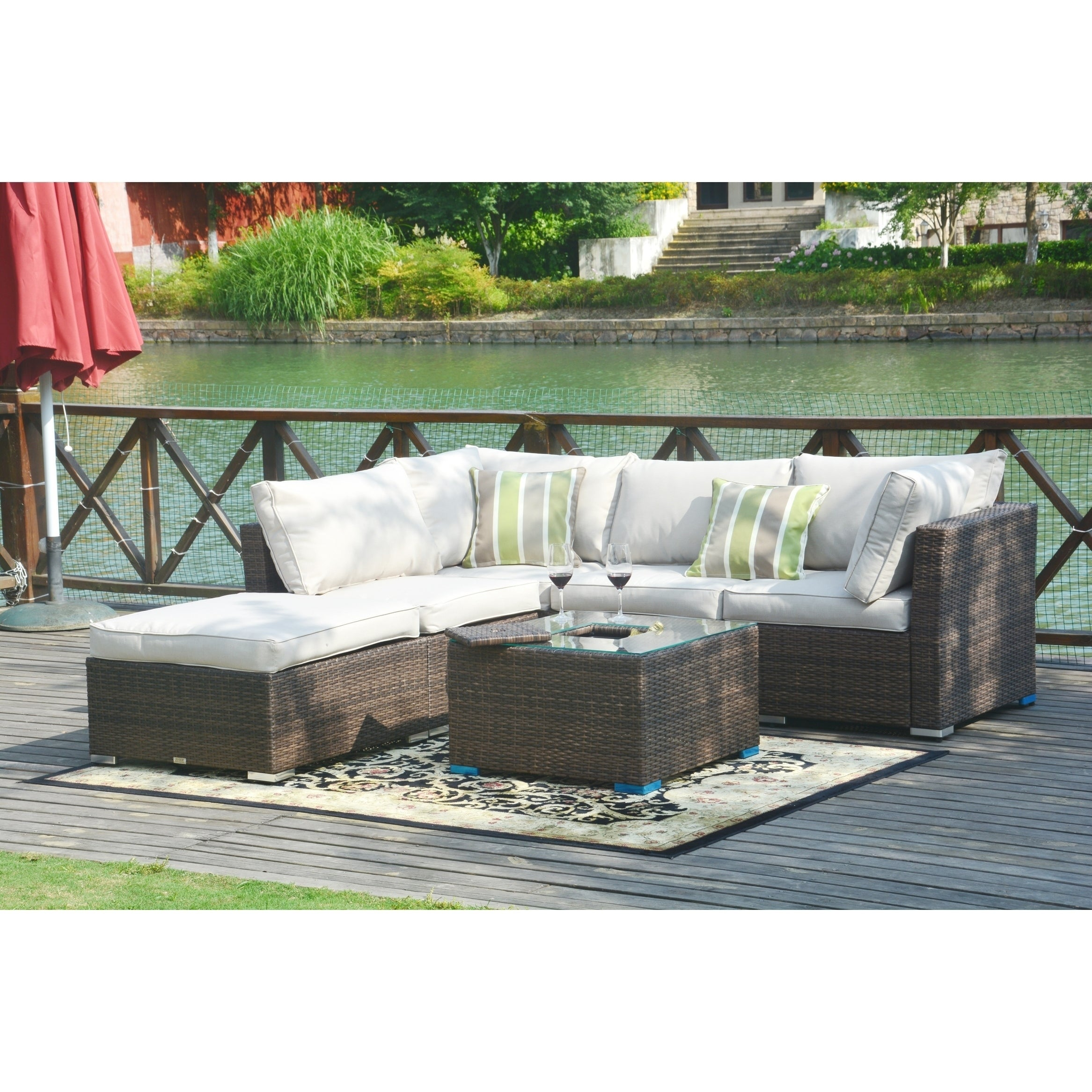 6245c606bc35f Shop 4-piece Wicker Patio Sectional Sofa Set with Ice Bucket Table Outdoor  Furniture - Free Shipping Today - Overstock - 26292949