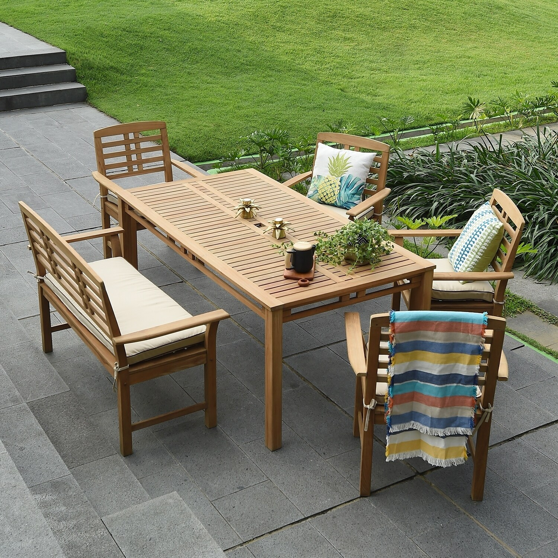 Havenside Home Goodwin 6 Piece Teak Patio Dining Set