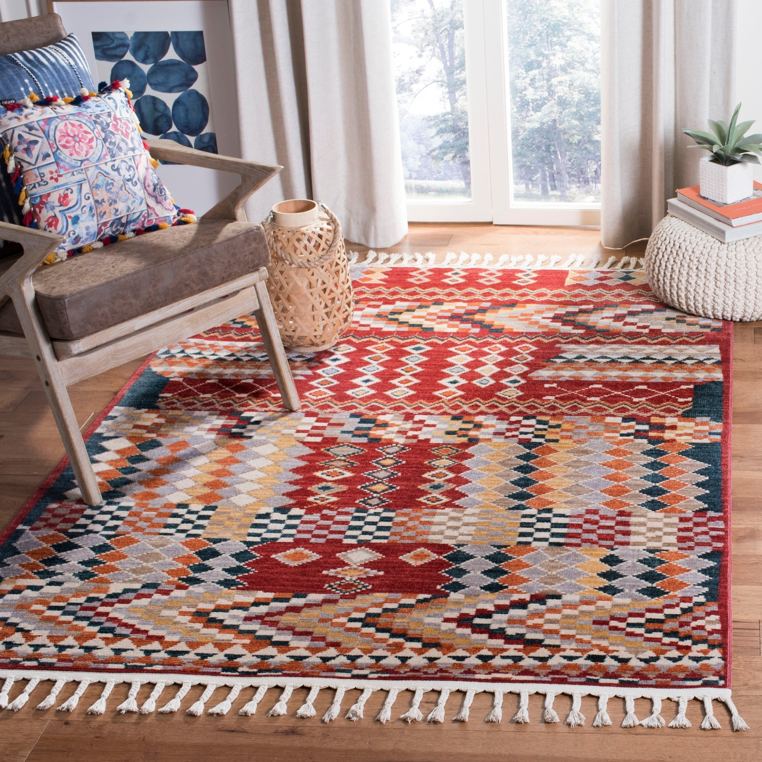 Safavieh Farmhouse Bohemian Eclectic Navy Red Polyester Tassel Area Rug 6 3 X 6 3 Square