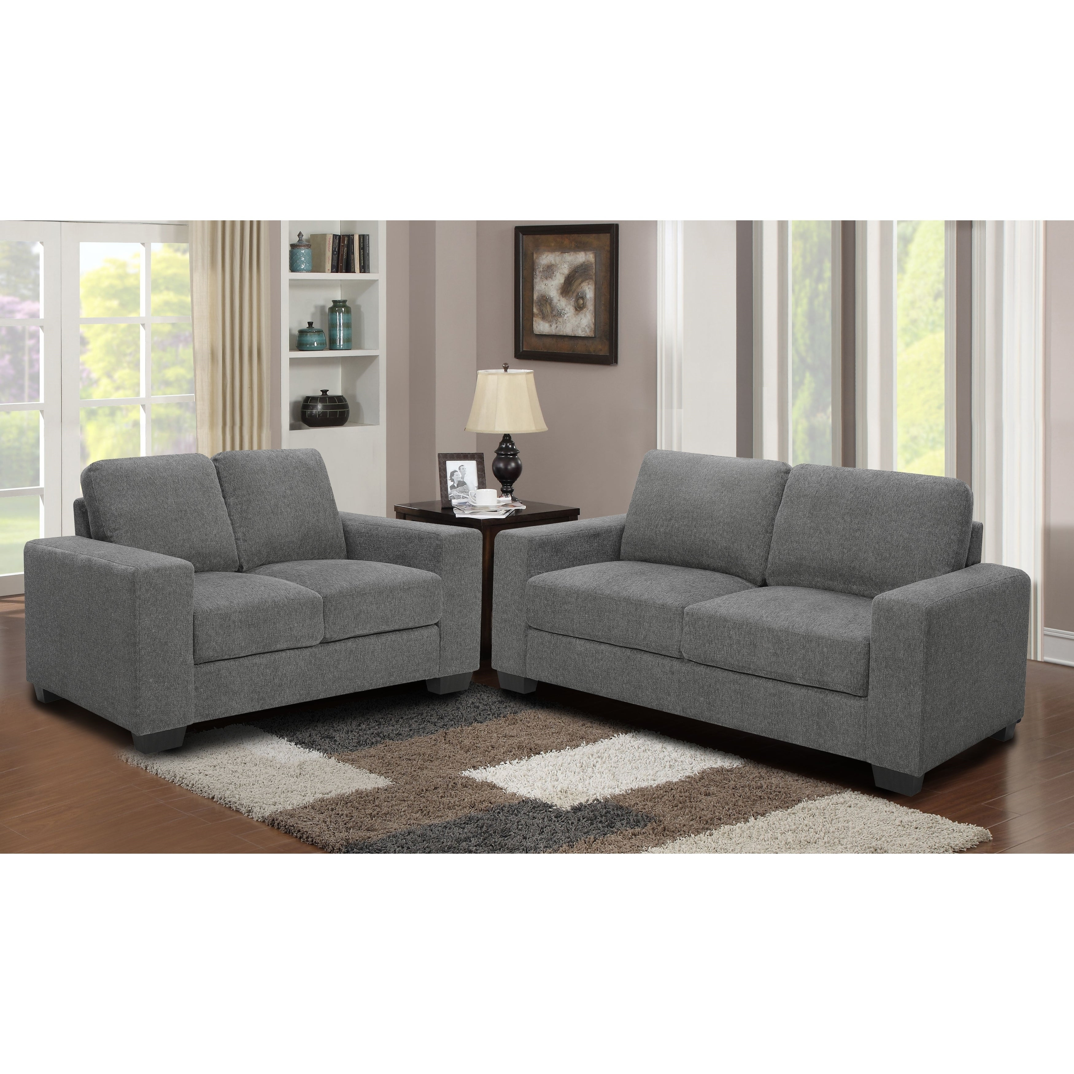 Shop 2pc grey microfiber sofa and loveseat living room set on sale free shipping today overstock com 26299050