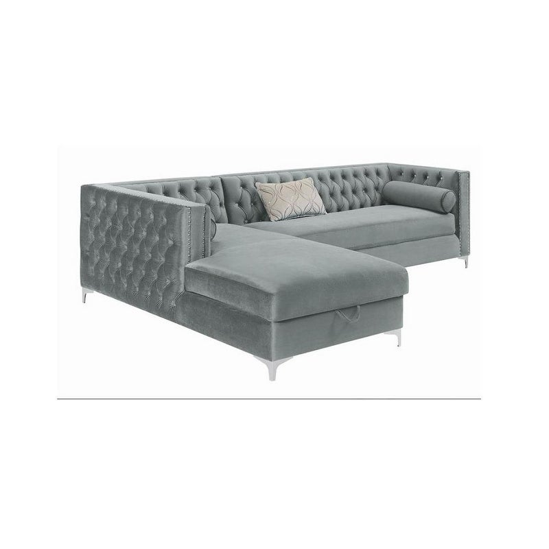 Shop Blaine Velvet Sectional Sofa With Storage Chaise Free