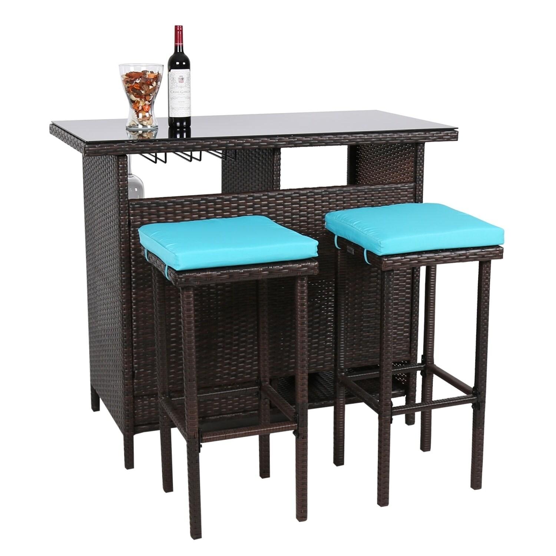 Kinbor 3 Piece Patio Bar Set Wicker Stools Table Outdoor Dining Sets