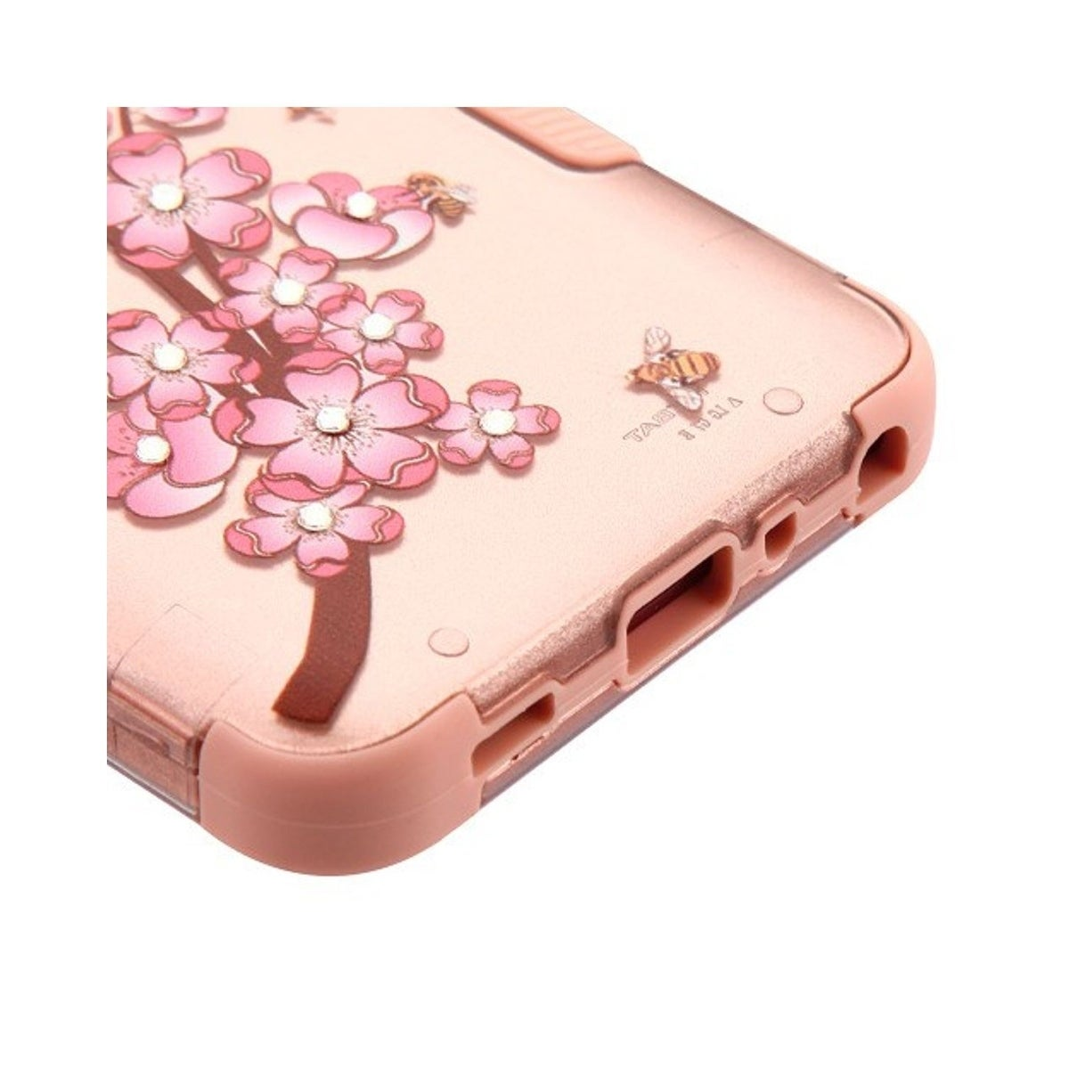 Insten For LG G7 ThinQ Rose Gold Spring Flowers Tuff Hard TPU Hybrid  Brushed Case Cover