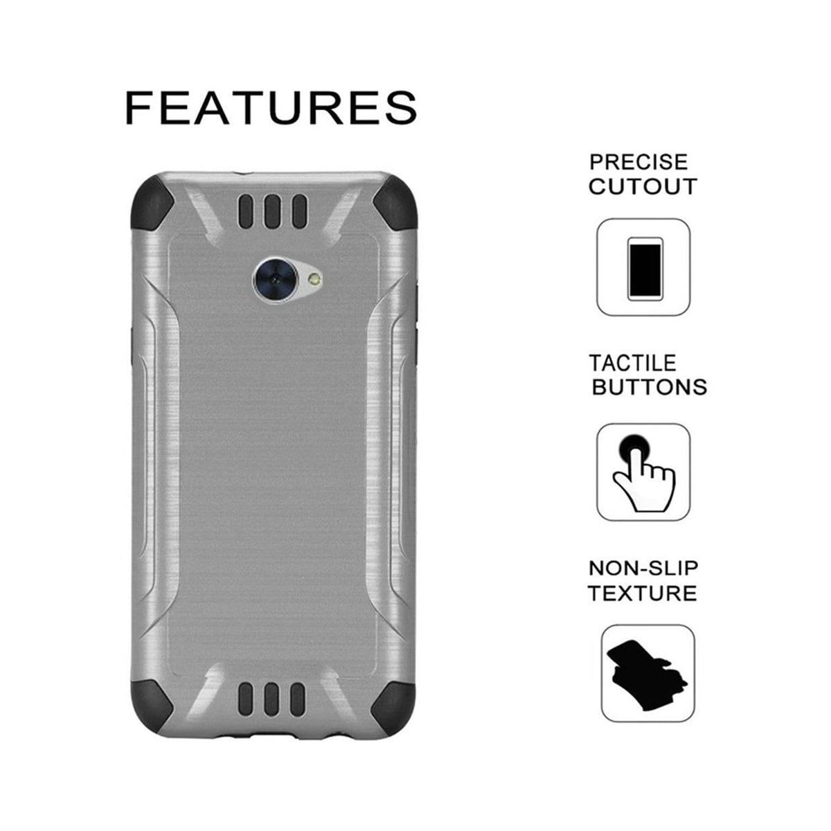 Insten For Huawei Ascend XT2 Slim Armor Hybrid Brushed PC/TPU Rubber Case  Silver/Black