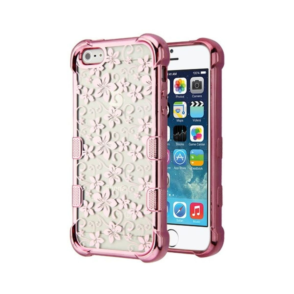 Shop Insten For Apple IPhone 5 5S SE Clear Rose Gold Hibiscus Flower Tuff Hard Case Cover
