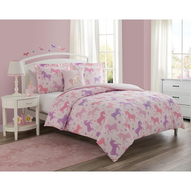 Unicorn Starlight Pink 4 Piece Reversible Comforter Set Featuring Bonus Wall Decals On Sale Overstock 26385422