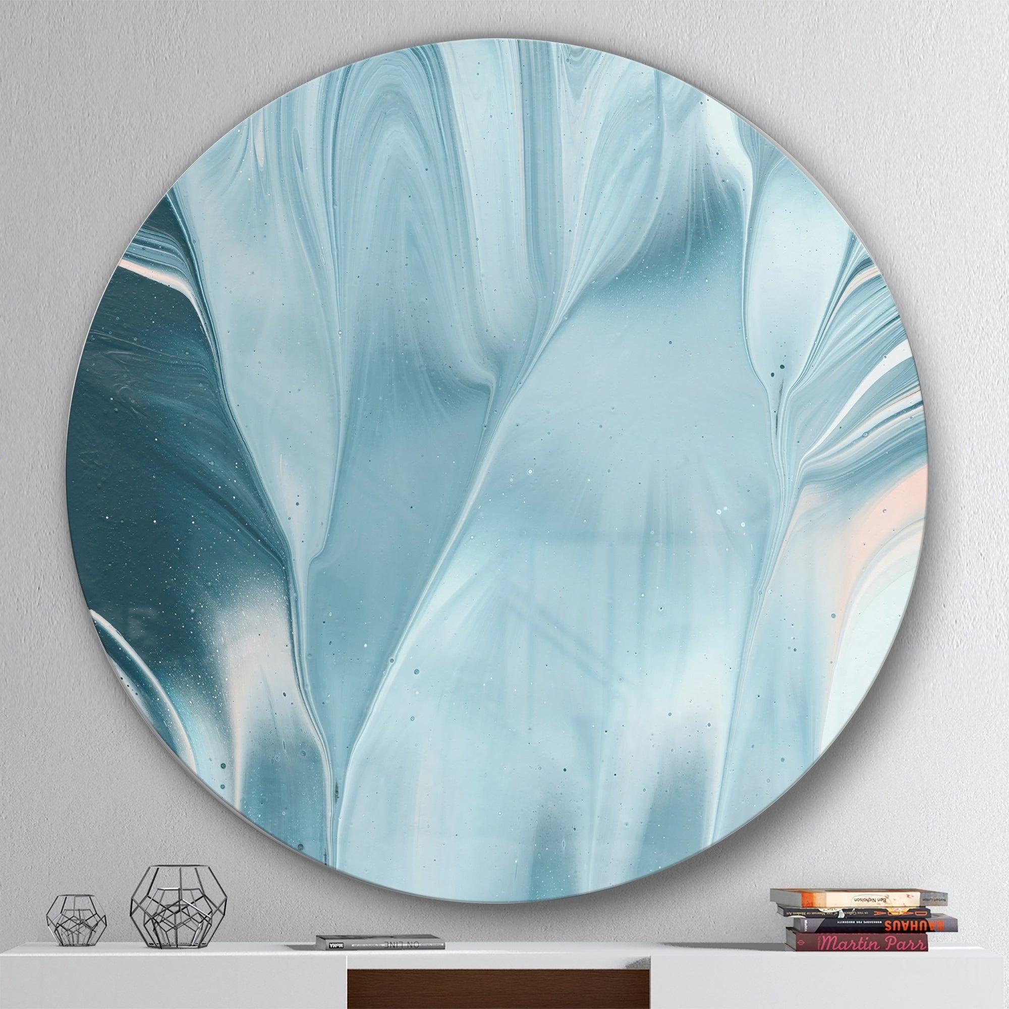 Designart blue modern water i geometric metal circle wall art