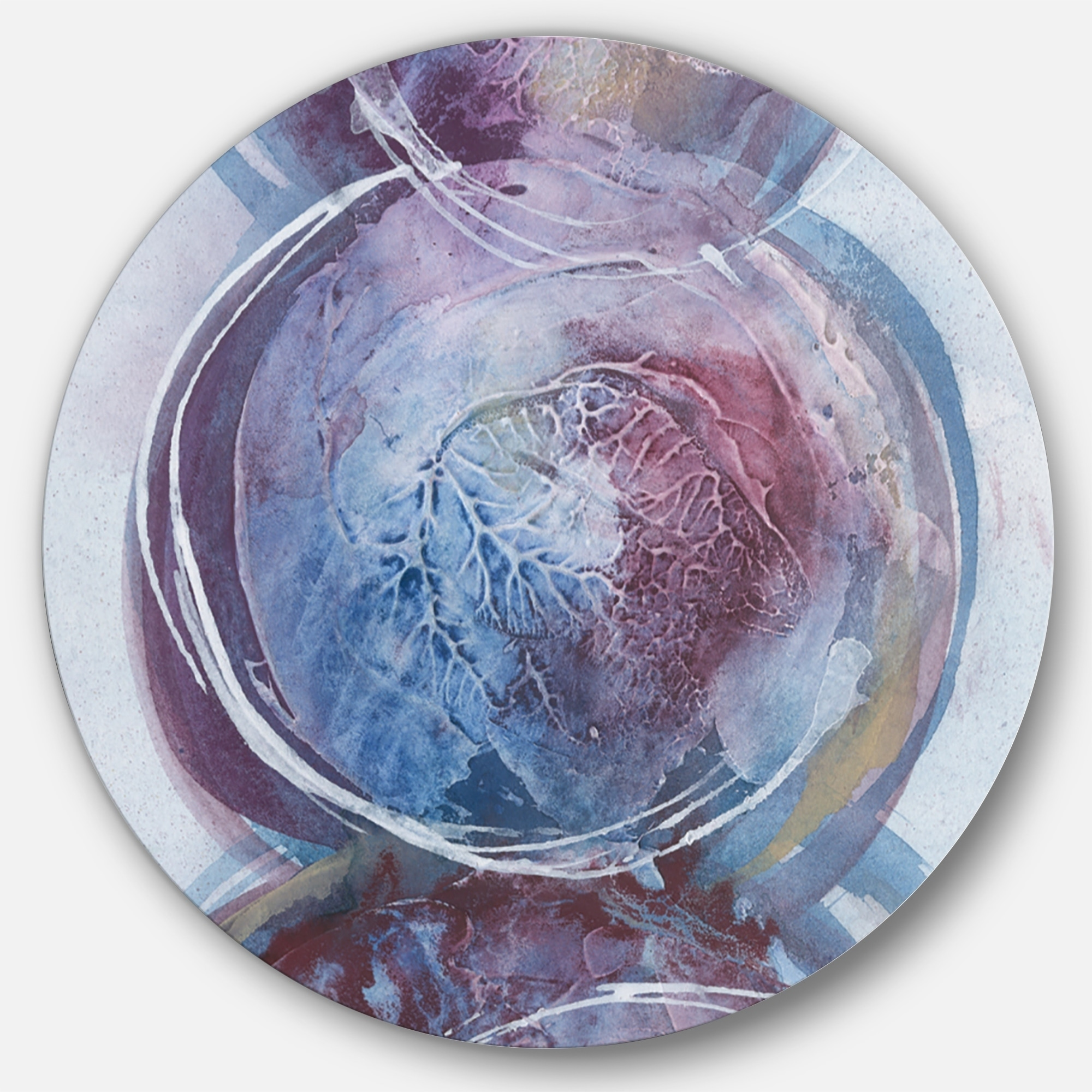 Designart 'Purple Starting Over I' Geometric Metal Circle Wall Art