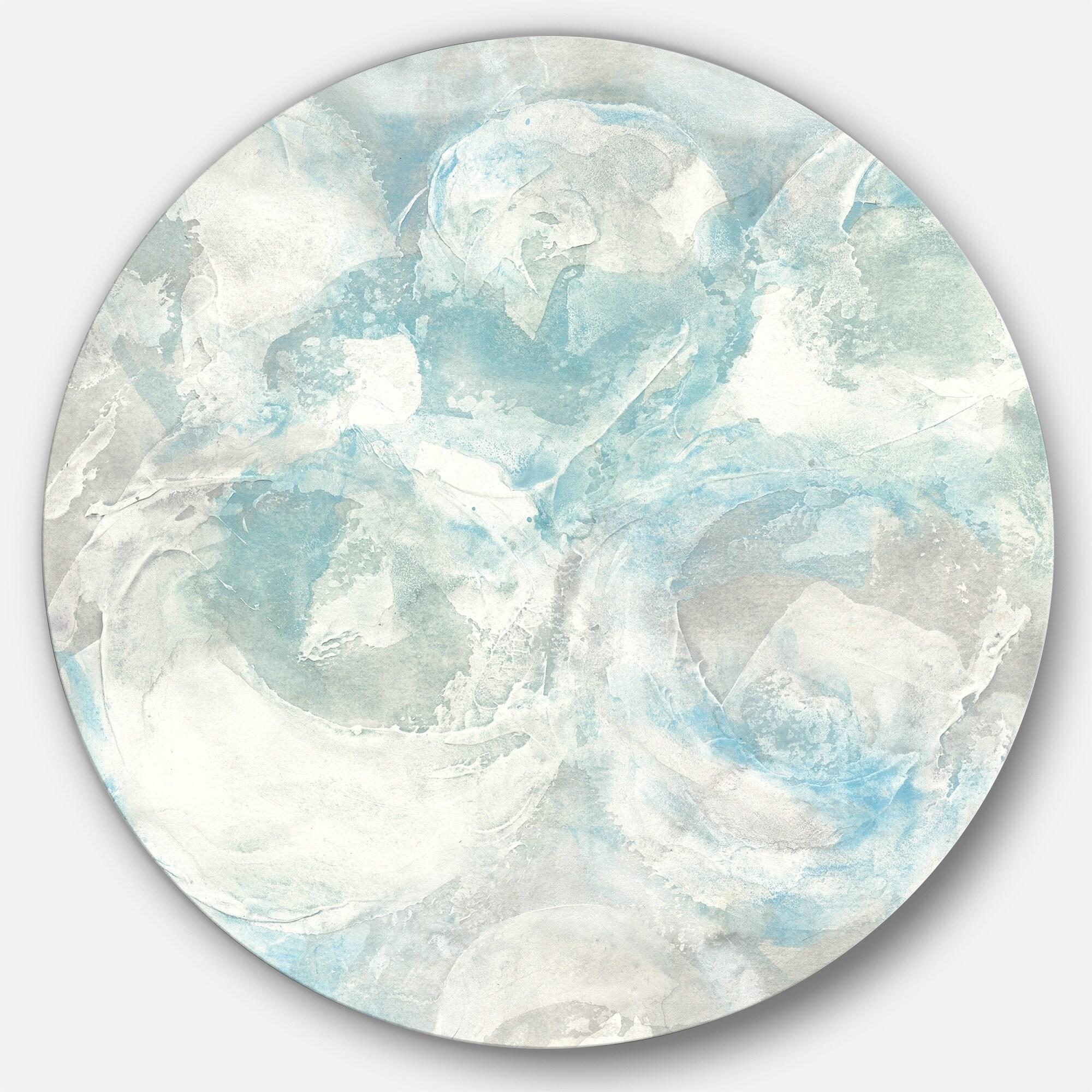Designart pale blue shade iii farmhouse metal circle wall art