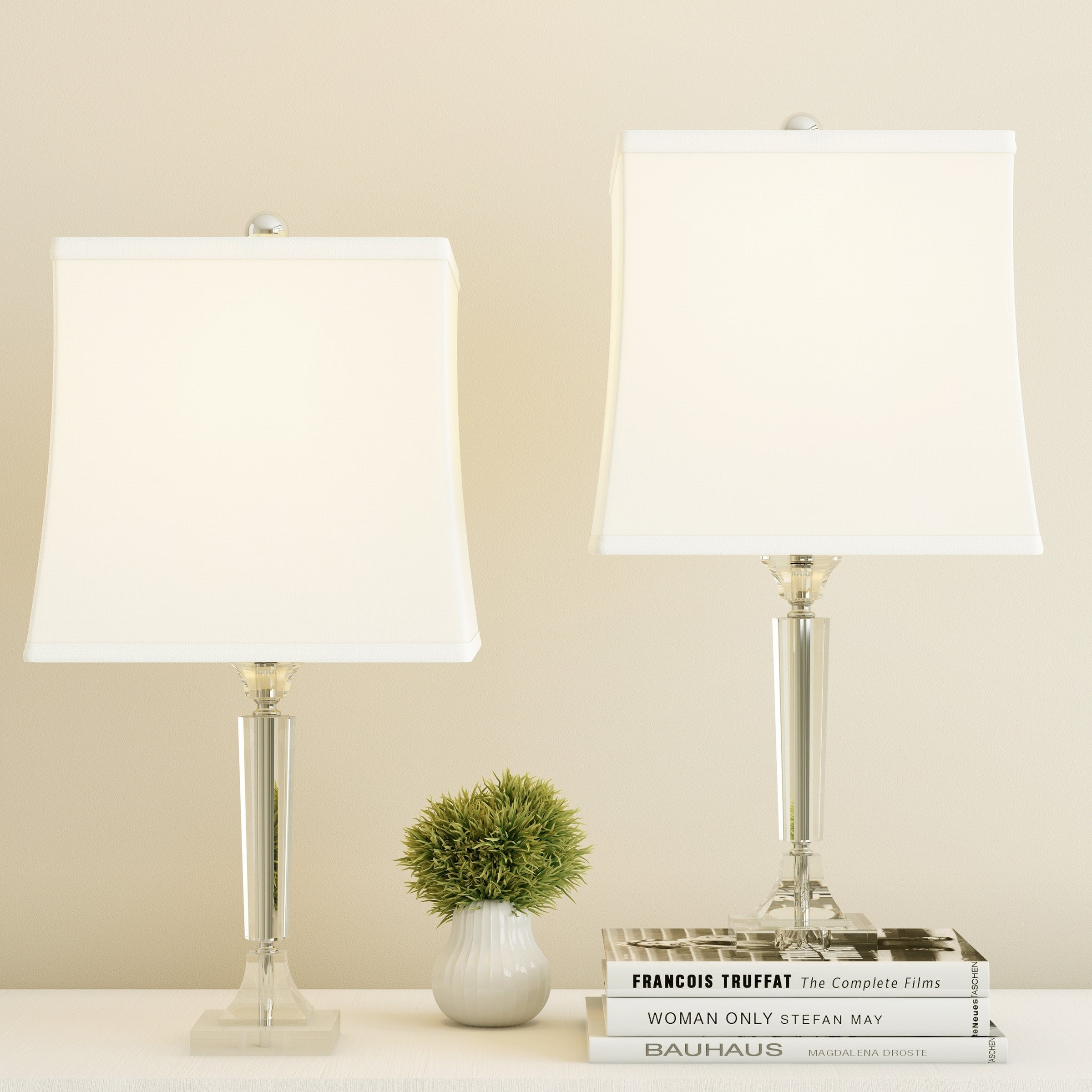 Crystal Candlestick Lamps With Square Shades Set Of 2 Faceted Shiny Matching Table Modern Accent Lights By Lavish Home