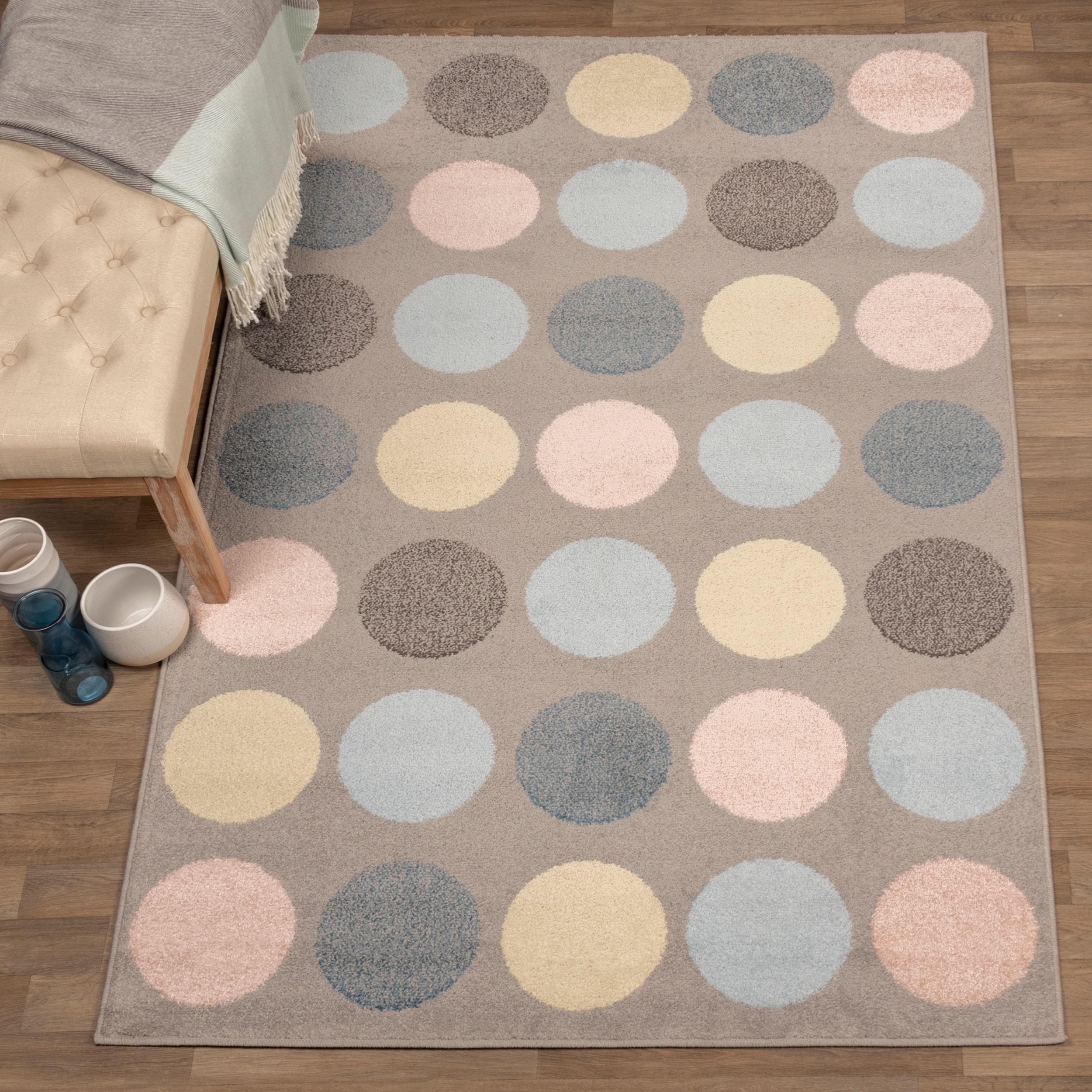 Miranda Haus Designer Pastel Polka Dot Area Rug Overstock 26428473