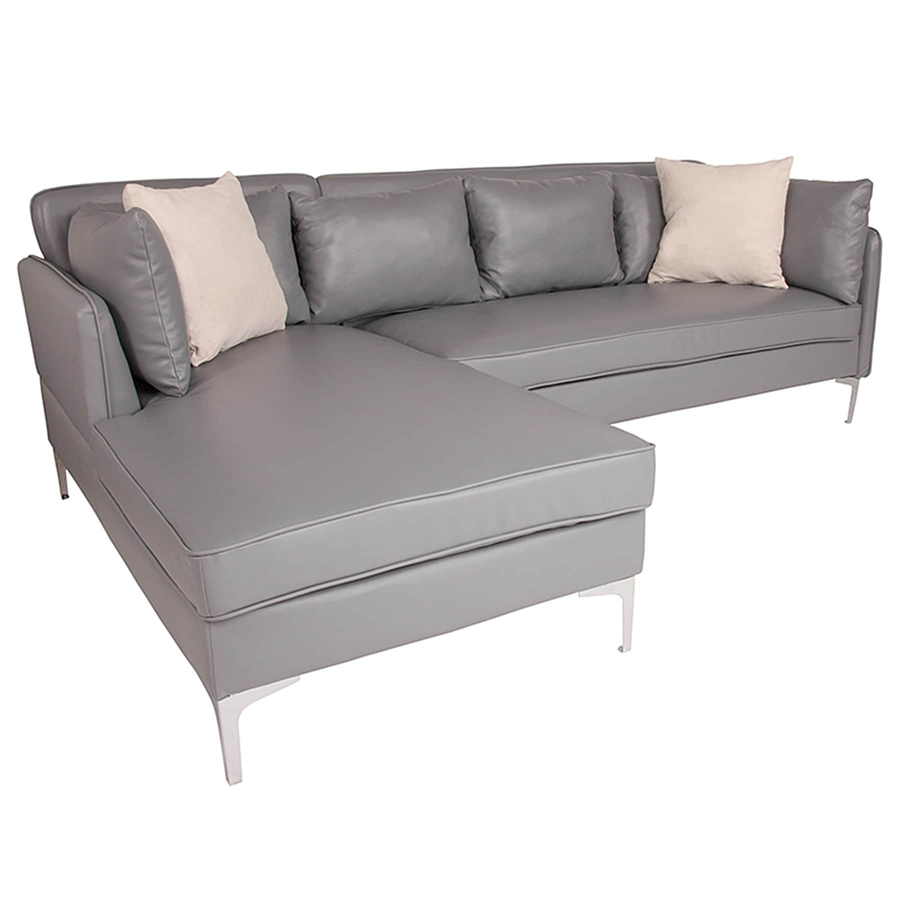 Shop Hempstead Modern Grey Leather Sectional Sofa with Left Facing ...