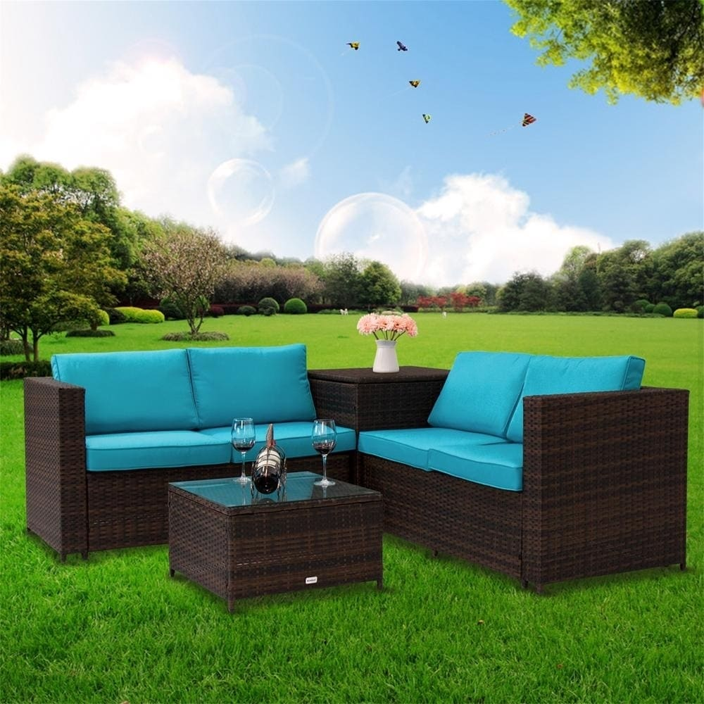 Kinbor 4 Piece Rattan Patio Furniture Set Wicker Sectional Sofa With Storage On Free Shipping Today 26438050