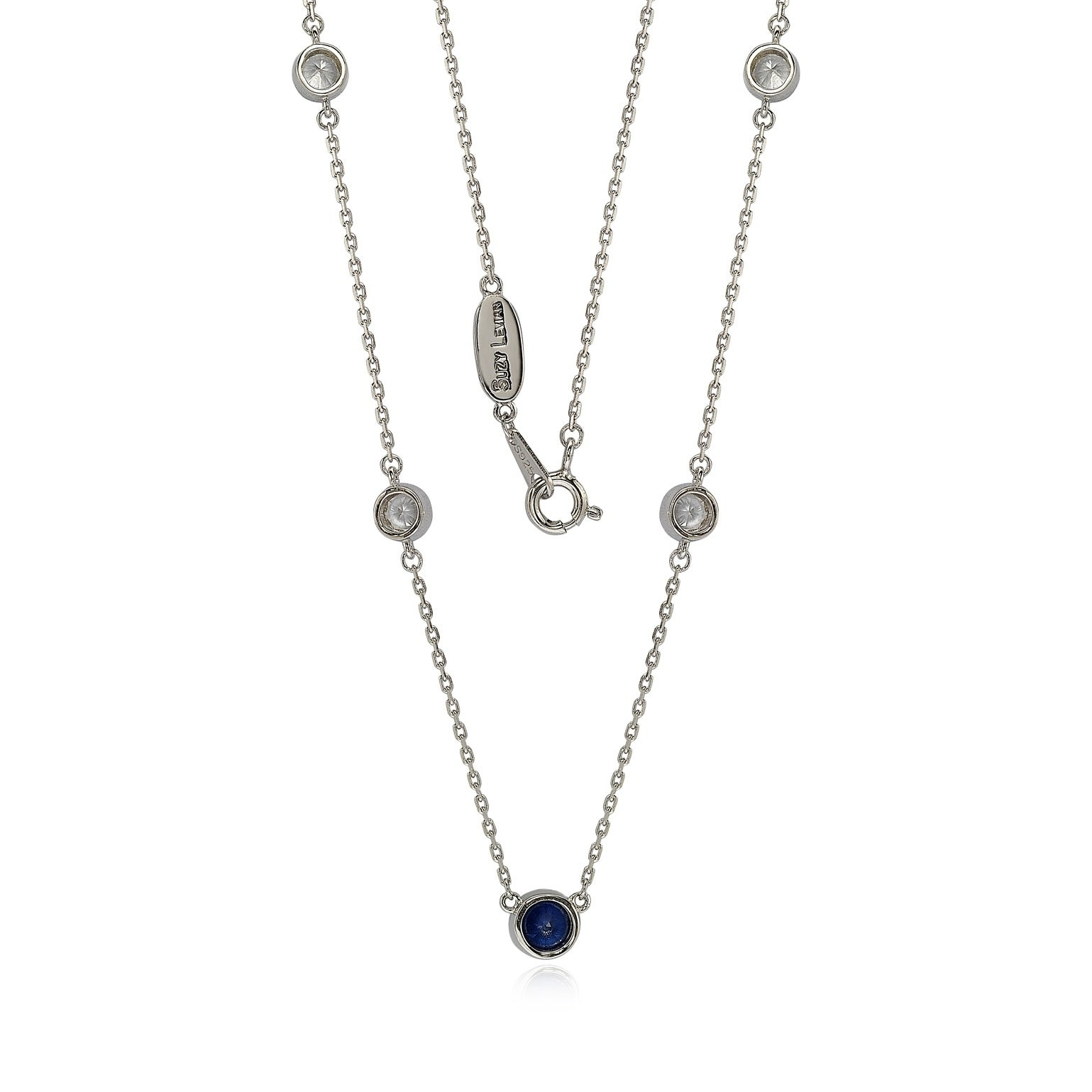 243f0a3821bf8 Suzy Levian Sapphire & Diamond Accent (1.50cttw) Sterling Silver 5 Stone  Station Necklace
