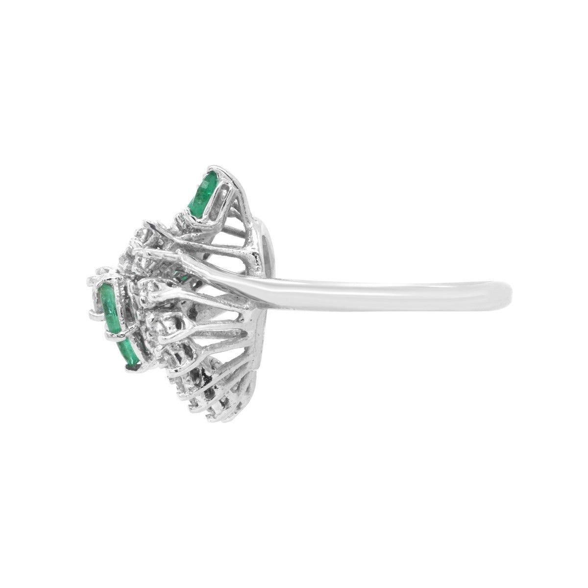 603e84500478a 14k White Gold 0.50ct Diamond Emerald Estate Ballerina Ring (I-J,SI1-SI2)