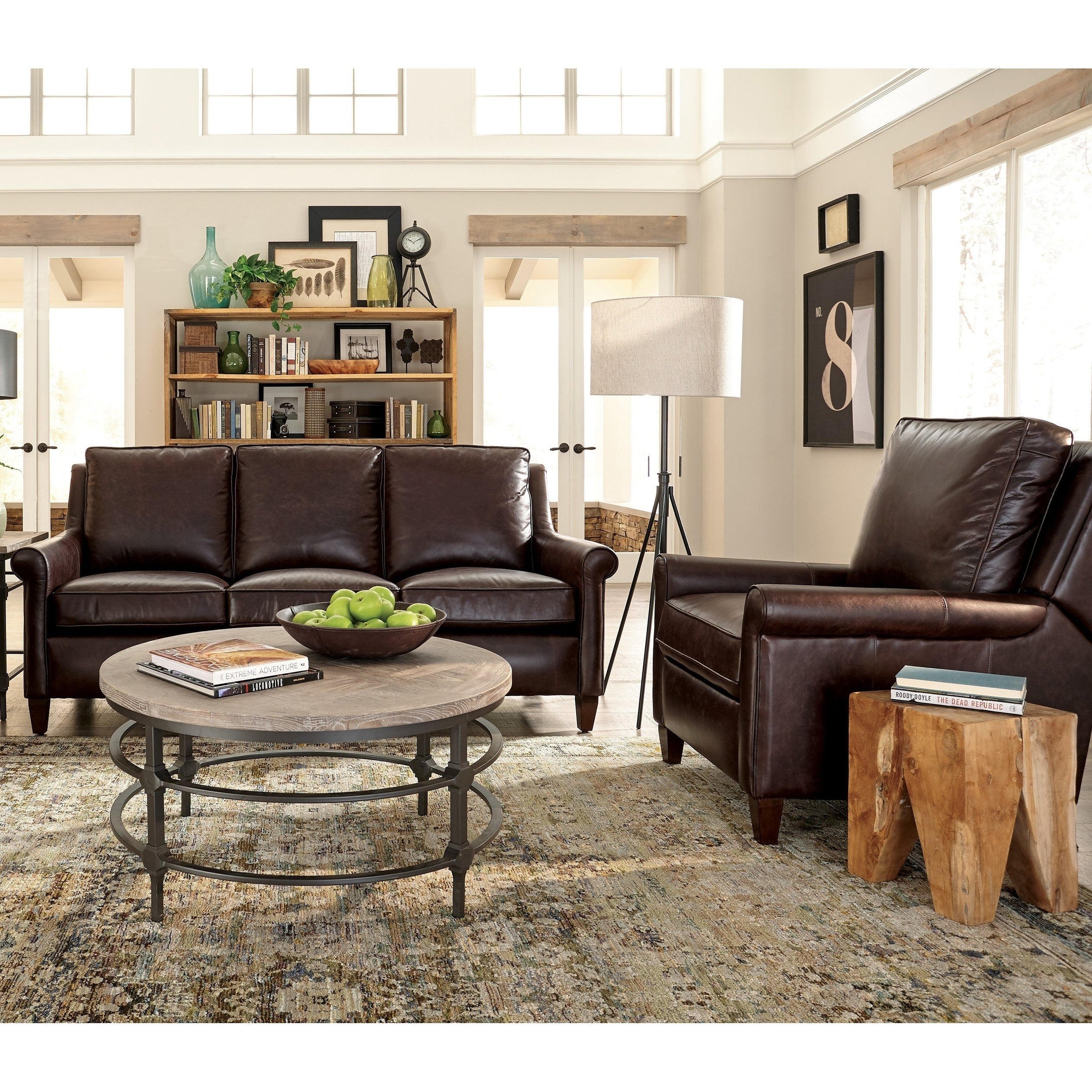 Shop Jericho Two Piece Dark Brown Leather Queen Sleeper Sofa ...