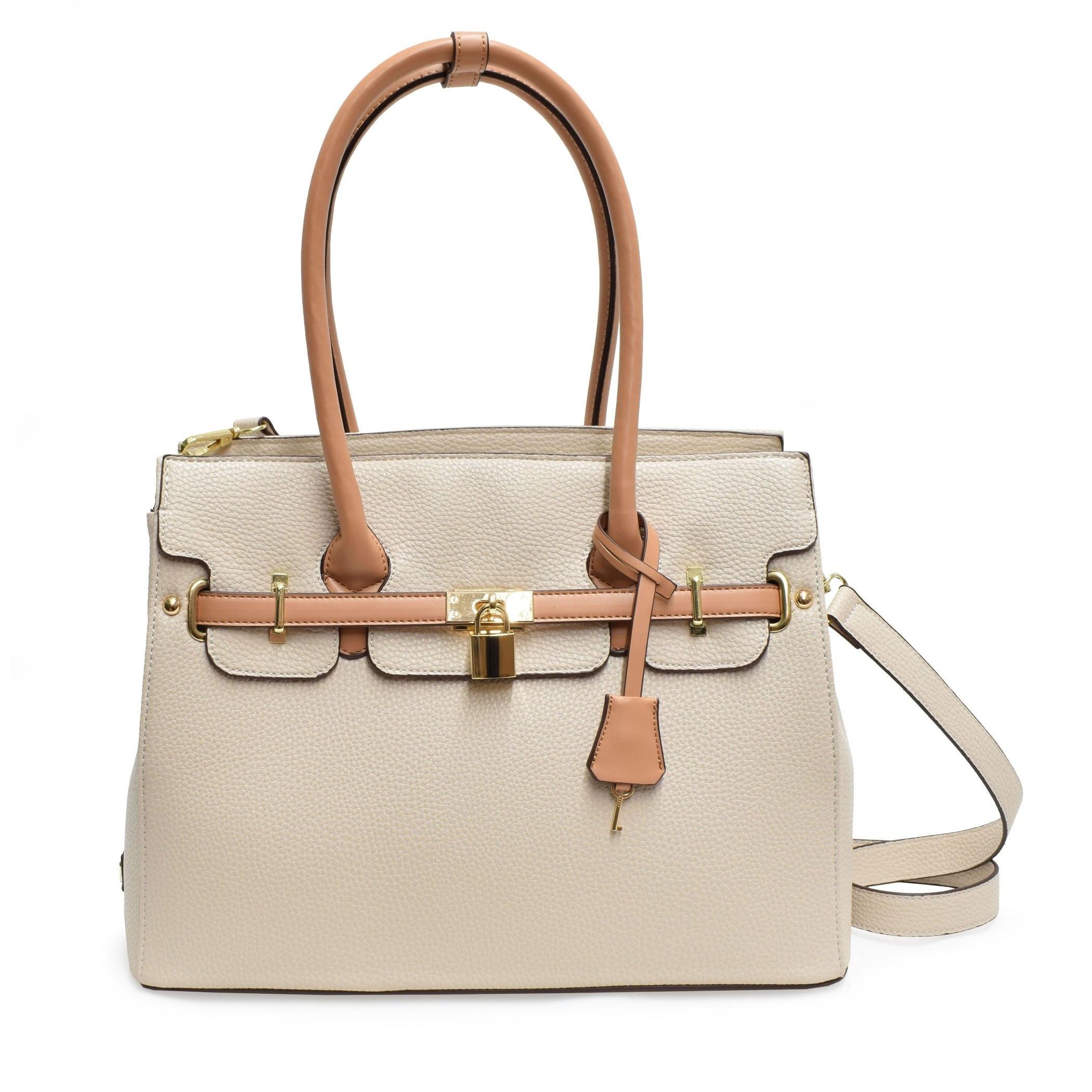 86b96bcb44 Shop Adrienne Vittadini Triple Compartment Kelly Collection Pebble Grain  Birkin Bag - Free Shipping Today - Overstock - 26451619