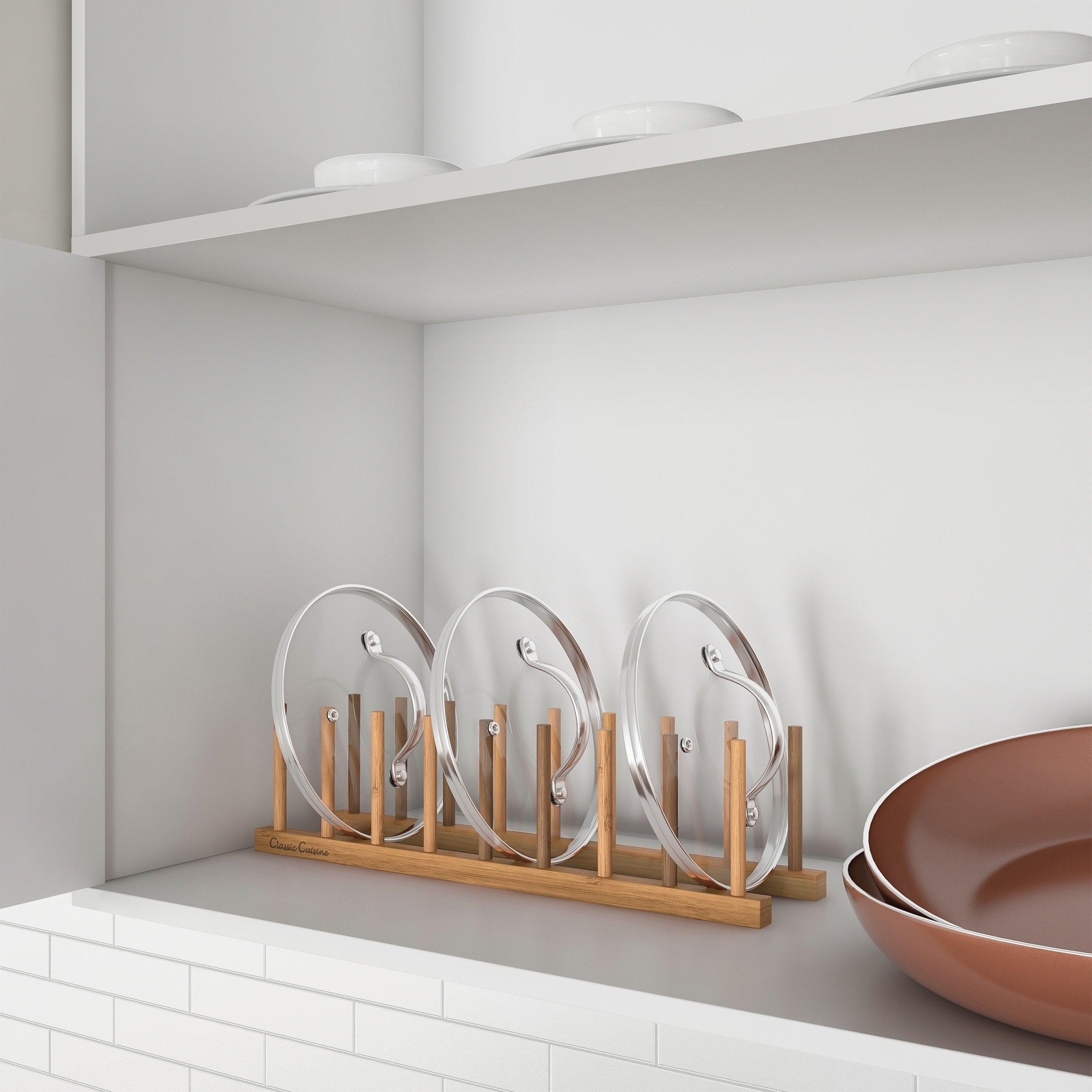 Shop Bamboo Plate Holder – Wood Vertical Dish Organizer Peg Board