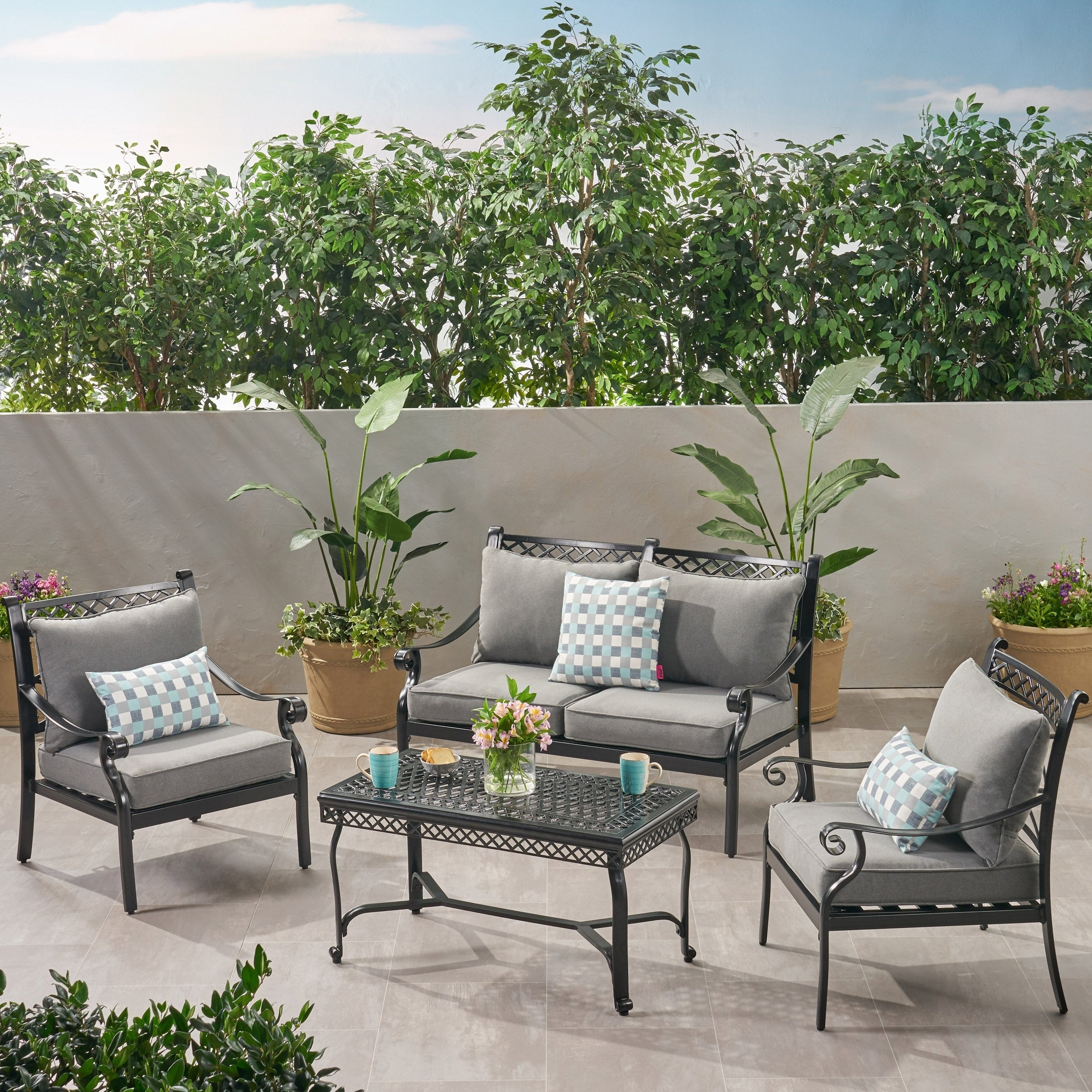 Westlake Outdoor 4 Piece Aluminum Chat Set By Christopher Knight Home Free Shipping Today 26474515