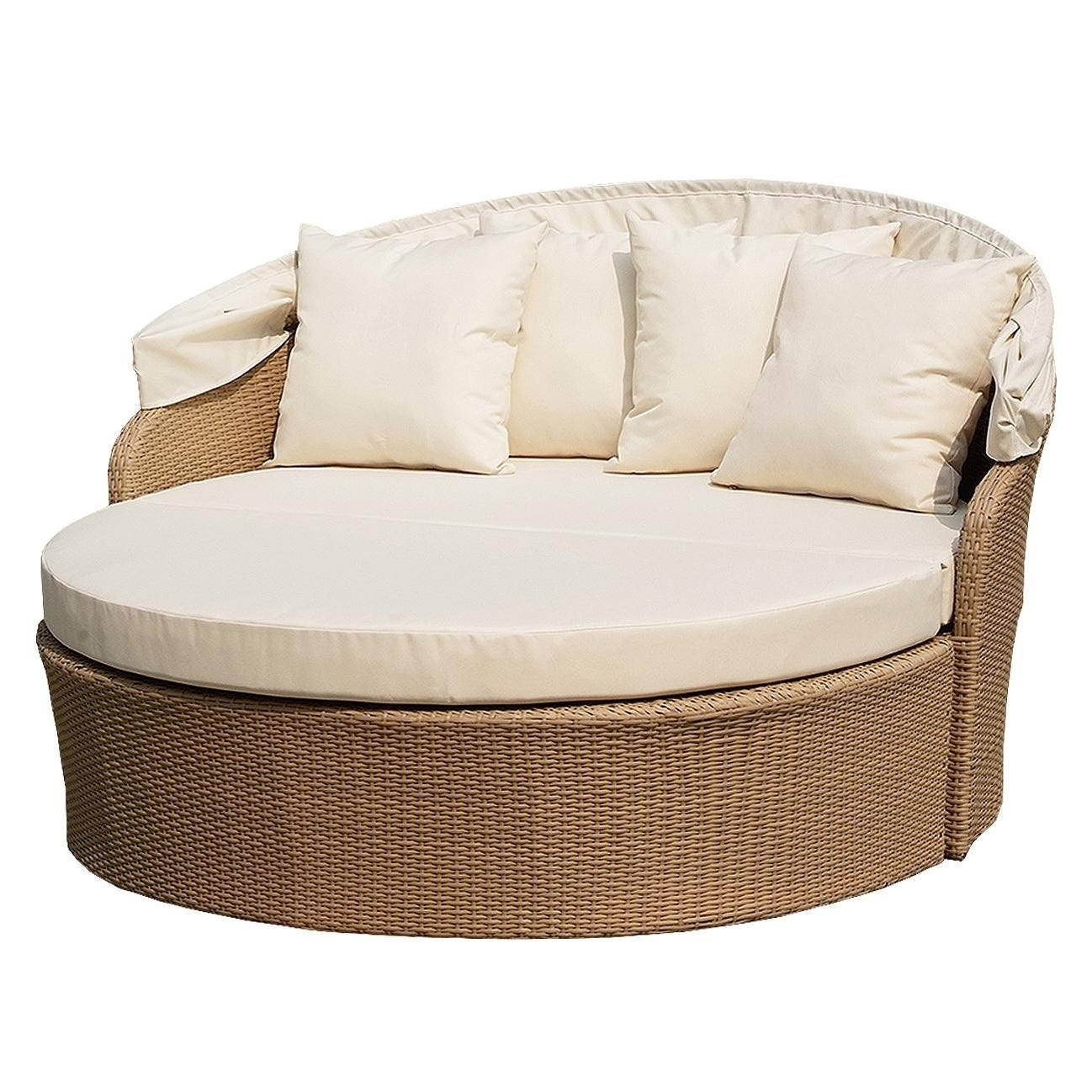 Canopy Daybed Outdoor Backyard Patio Furniture Light Brown Wicker