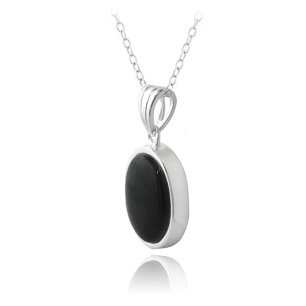 Glitzy rocks sterling silver oval onyx pendant necklace free glitzy rocks sterling silver oval onyx pendant necklace free shipping on orders over 45 overstock 10857039 aloadofball Gallery