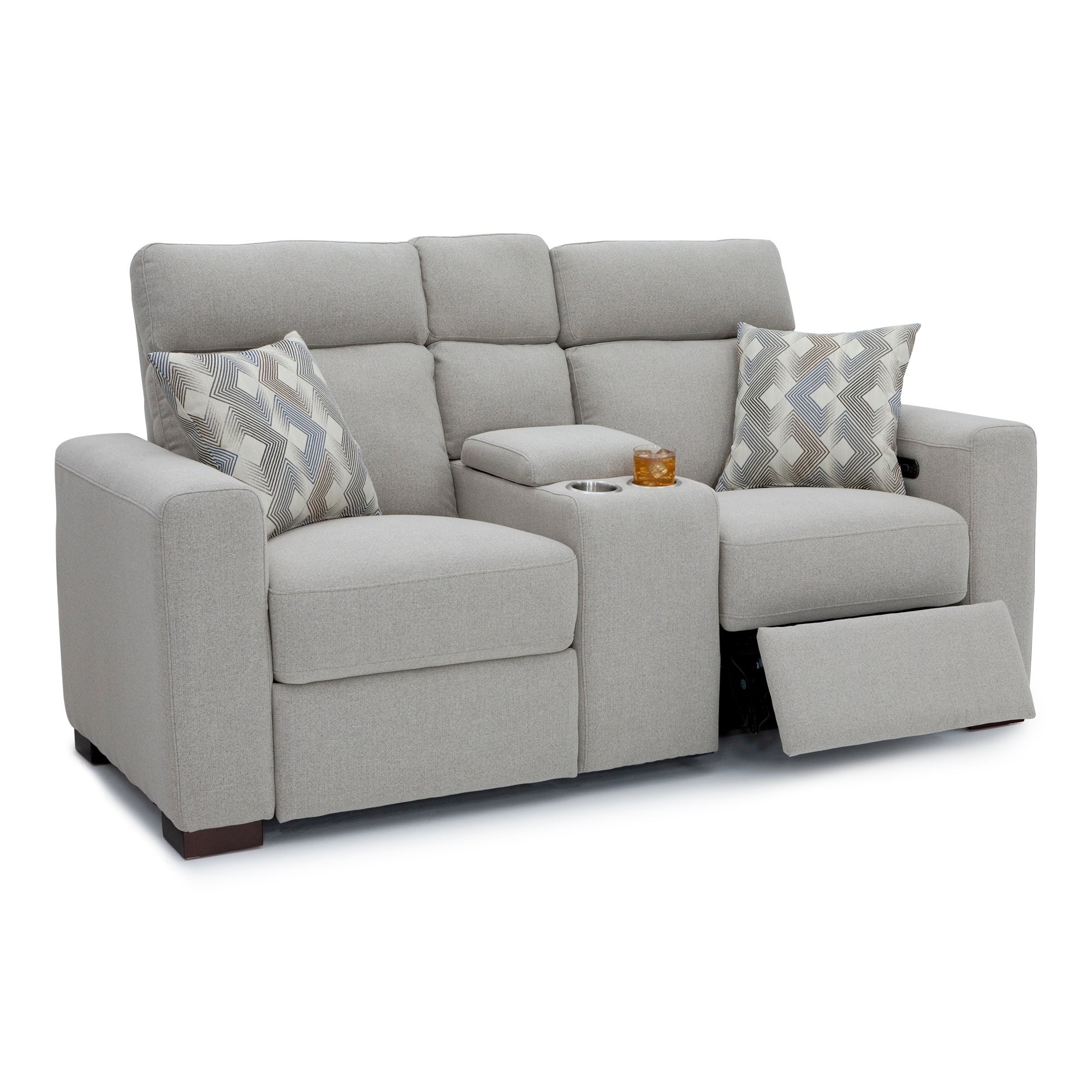 Seatcraft Capital Home Theater Seating Fabric Recline Sofa Adjule Ed Headrest Fold Down Table Cup Holders