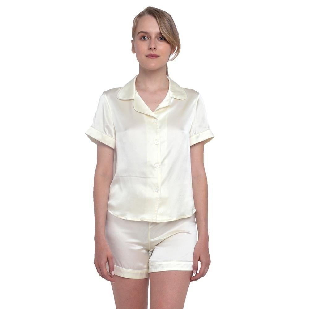 0f17462891 Shop MYK 22Momme Mulberry Silk Women s Pajama Set Night Shirt and Shorts -  Free Shipping Today - Overstock - 26564832