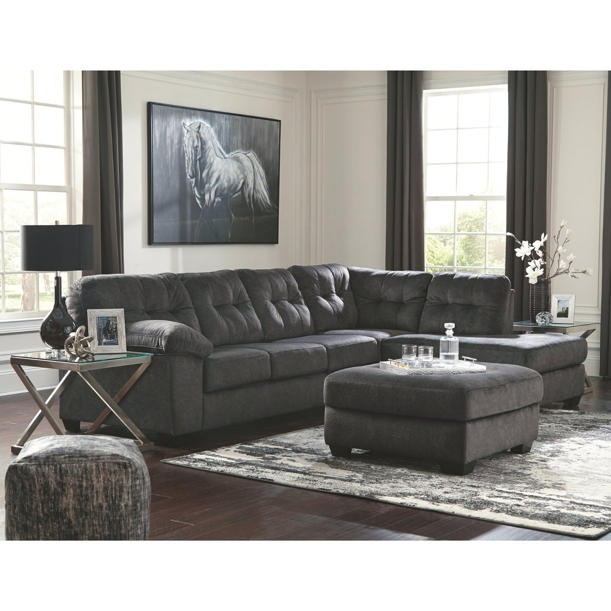 Shop Accrington Grey Fabric Upholstered 2-piece Sectional Sofa ...